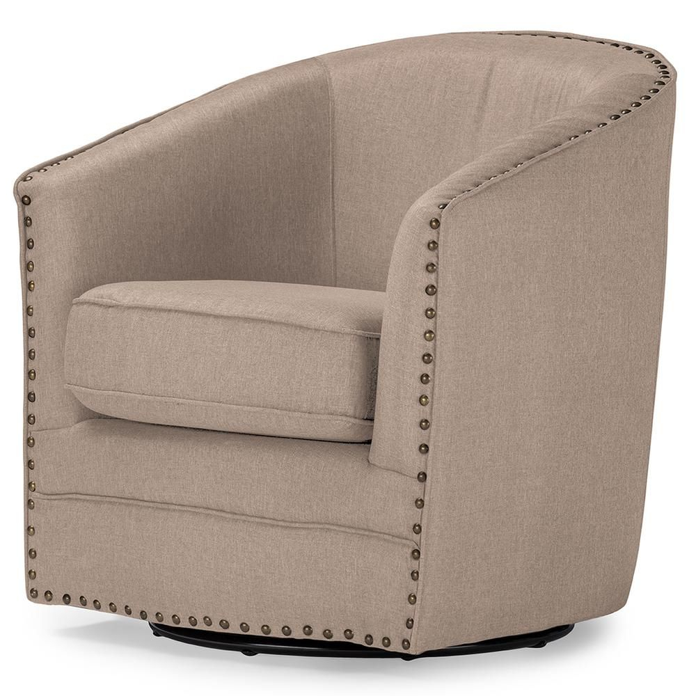 Newest Baxton Studio Porter Contemporary Beige Fabric Upholstered In Vineland Polyester Swivel Armchairs (View 6 of 20)