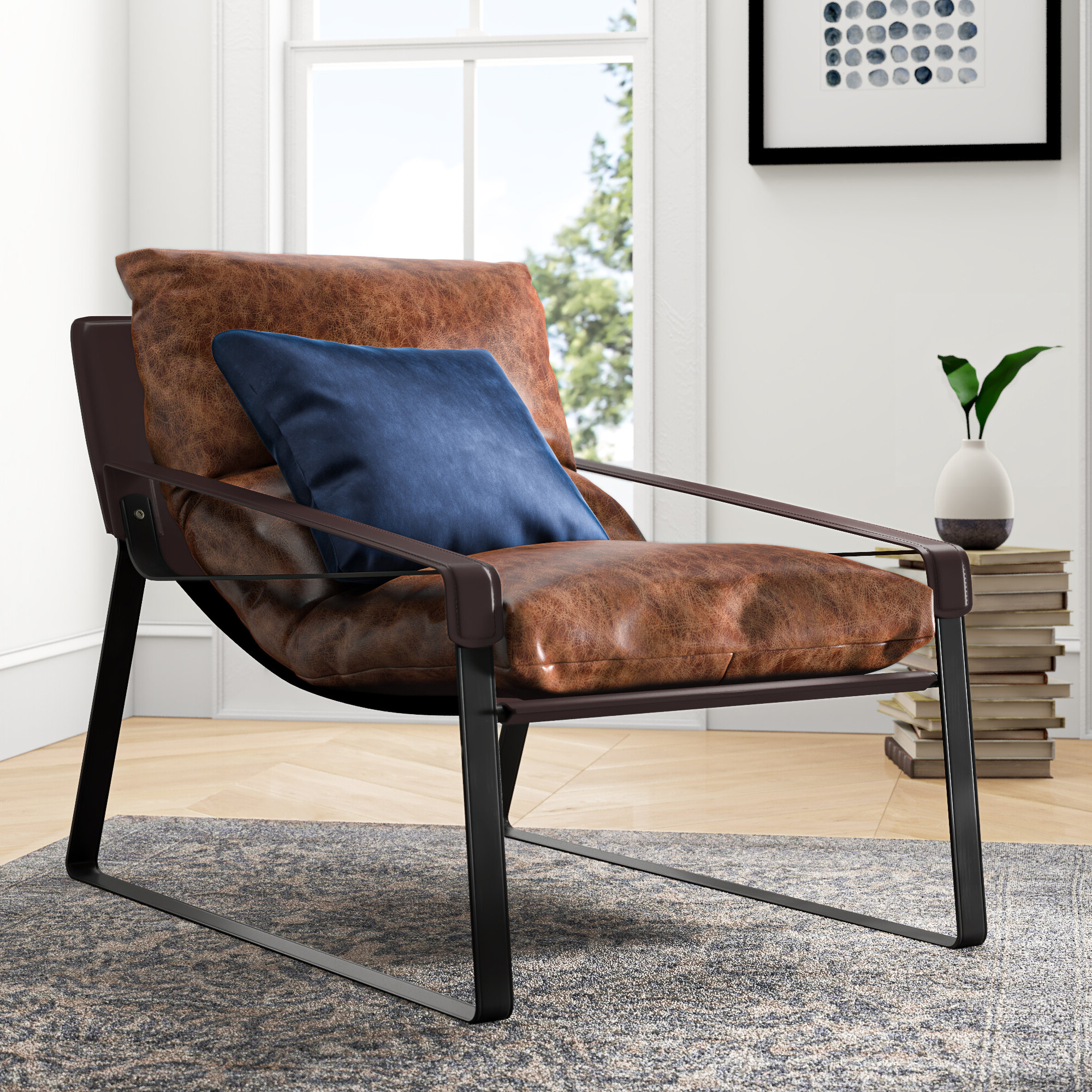 Newest Broadus Genuine Leather Suede Side Chairs For Alyse Lounge Chair (View 8 of 20)