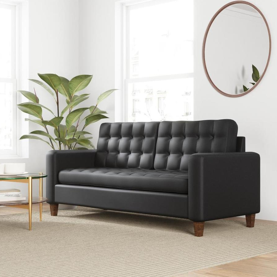 Newest Brookside Brynn Square Arm Sofa With Buttonless Tufting Black Faux Leather Regarding Barnard Polyester Barrel Chairs (View 15 of 20)