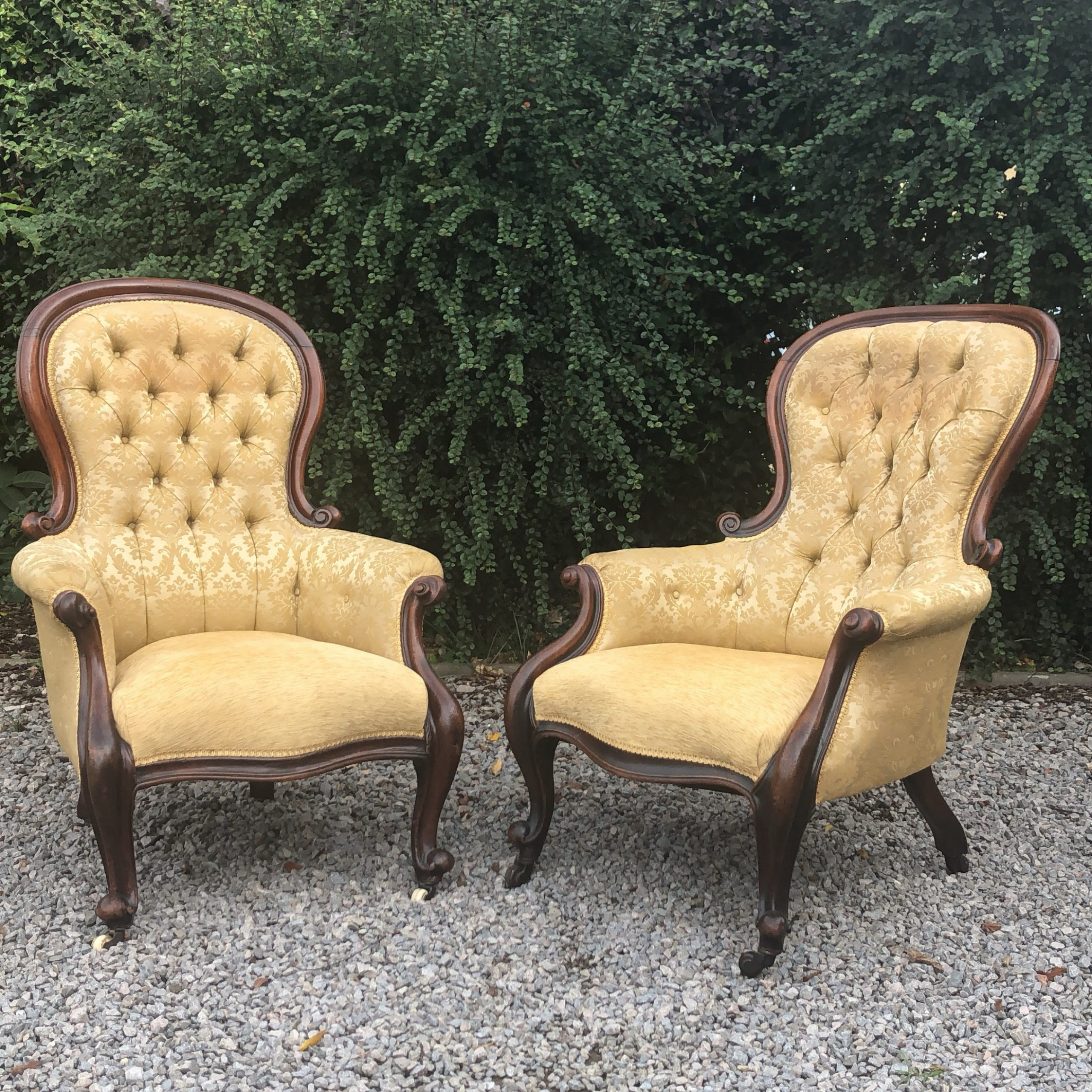 Newest Matched Pair Victorian Mahogany Button Back Armchairs With Reynolds Armchairs (View 3 of 20)