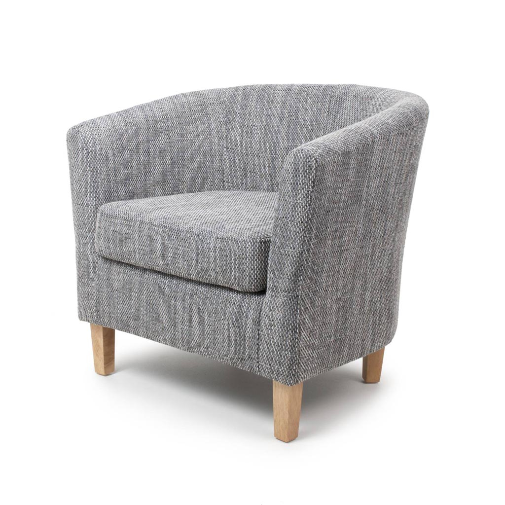 Newest Tub Tweed Grey Chair And Stool Set With Seat Cushion In Dorcaster Barrel Chairs (View 16 of 20)