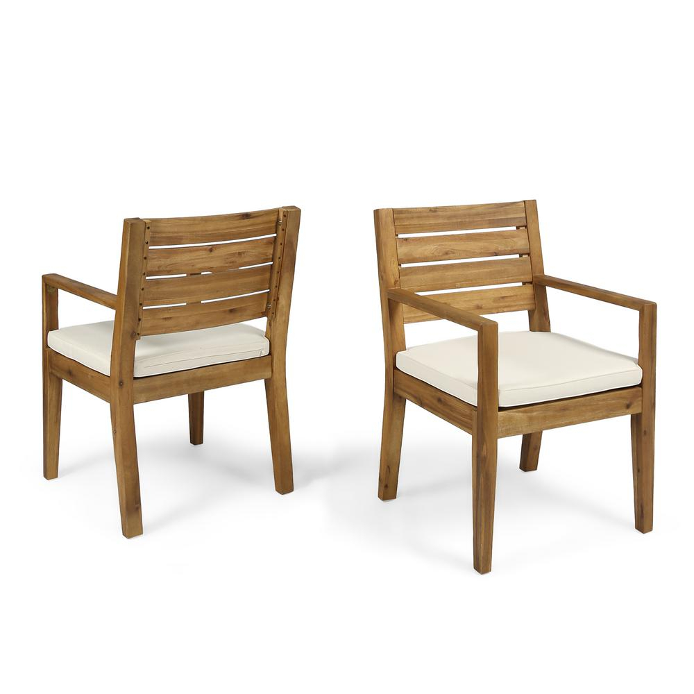 Noble House Nestor Sandblast Wood Outdoor Lounge Chair With Cream Cushions  (2 Pack) 53832 – The Home Depot Regarding Fashionable Nestor Wingback Chairs (View 6 of 20)