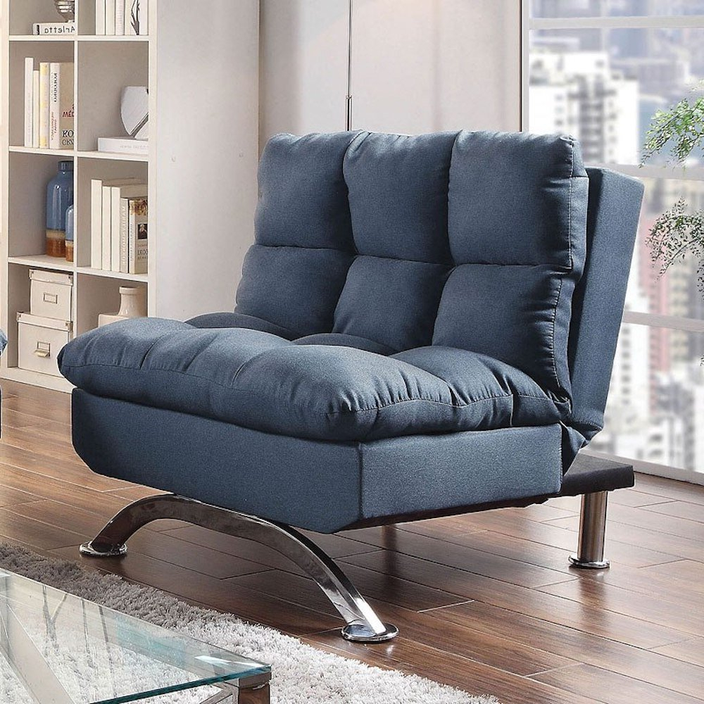 Onderdonk Faux Leather Convertible Chairs Throughout Latest Blue Convertible Accent Chairs You'll Love In (View 6 of 20)