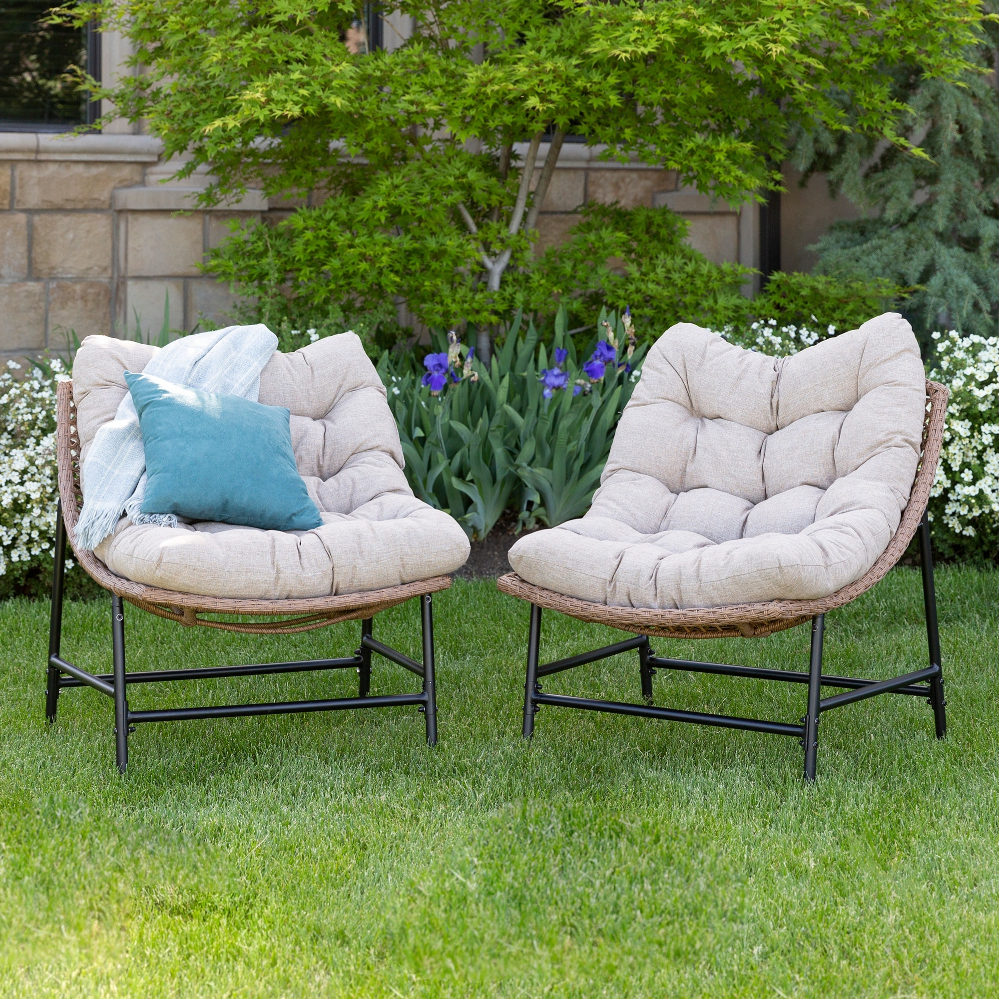 Outdoor Rattan Papasan Chairs With Cushions, Set Of 2 In 2020 Decker Papasan Chairs (View 9 of 20)