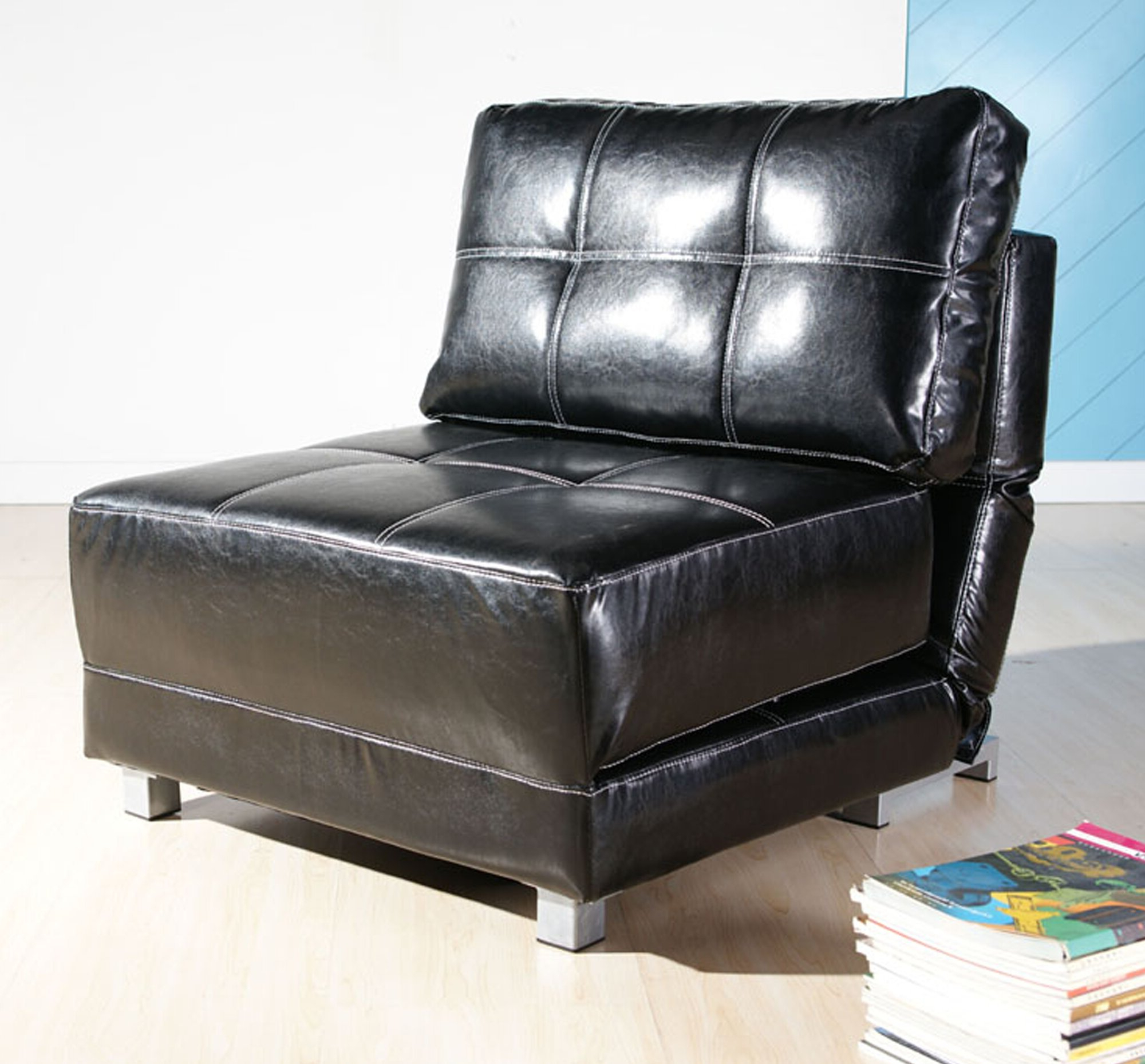 Perz Tufted Faux Leather Convertible Chairs Inside Widely Used Hersey (View 3 of 20)
