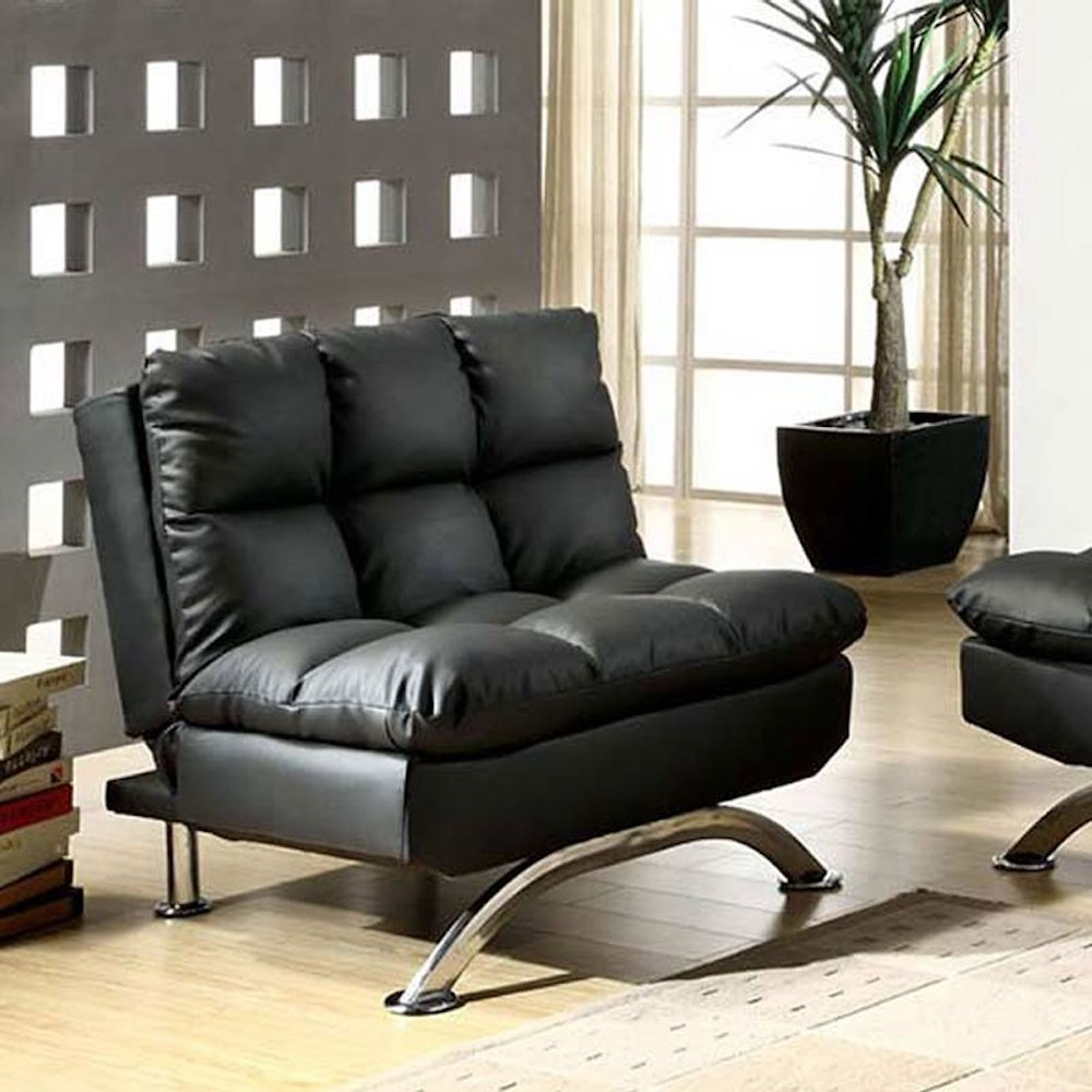 Perz Tufted Faux Leather Convertible Chairs Pertaining To Current Convertible Solid Accent Chairs You'll Love In (View 9 of 20)