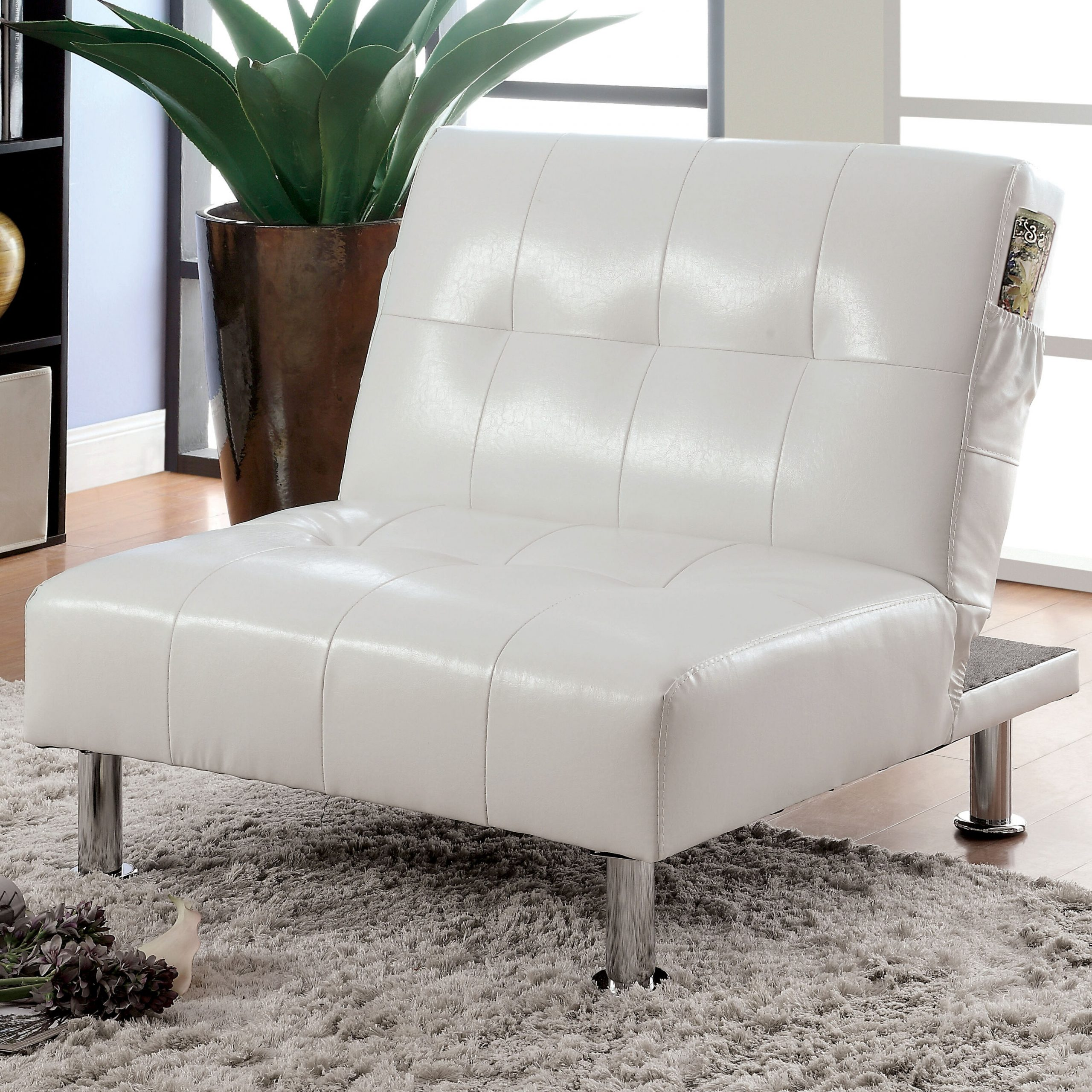 Perz Tufted Faux Leather Convertible Chairs Throughout Fashionable Convertible Solid Accent Chairs You'll Love In (View 6 of 20)