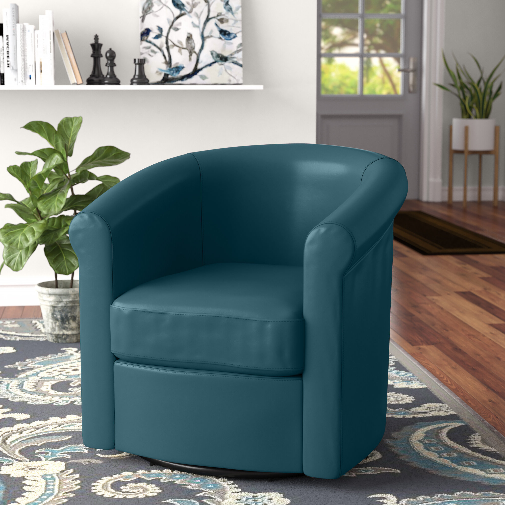 """Pinehill 29"""" W Faux Leather Swivel Barrel Chair Inside Most Recent Molinari Swivel Barrel Chairs (View 7 of 20)"""