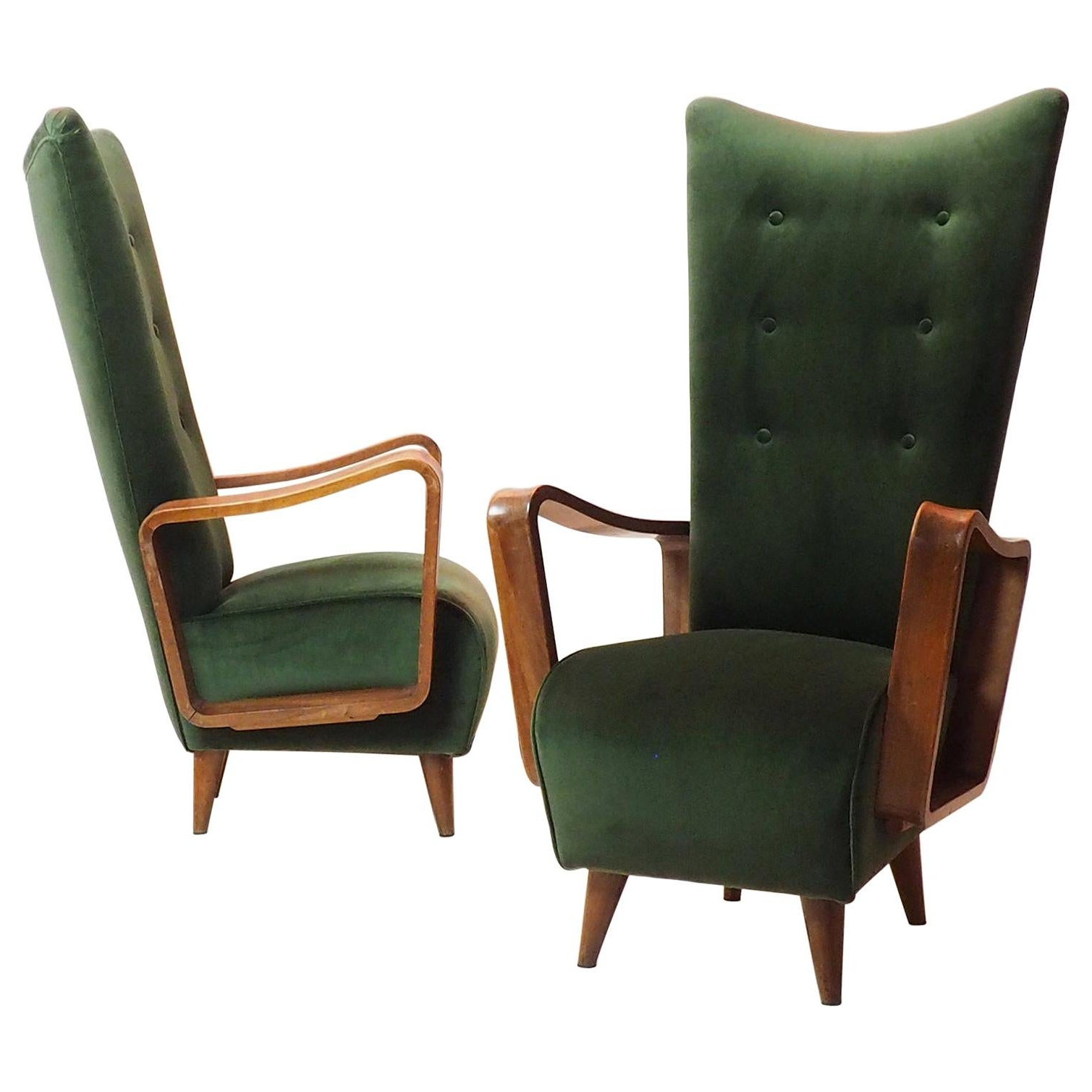 Pitts Armchairs Pertaining To Famous Midcentury High Back Italian Green Armchairspietro Lingeri, Italy 1950s (View 18 of 20)