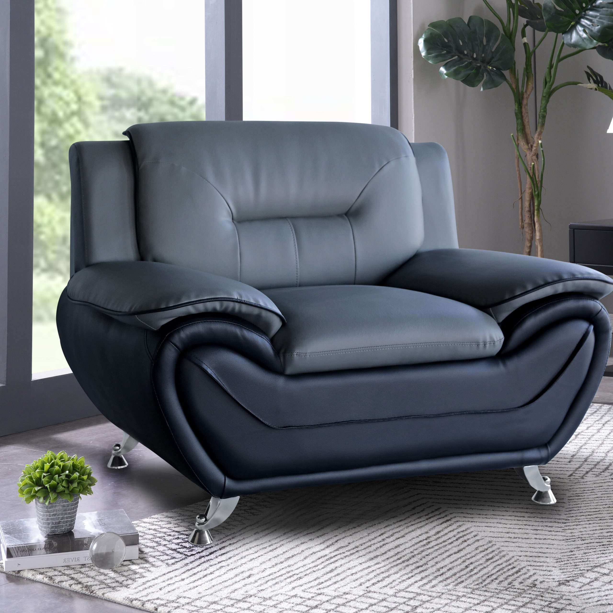 """Polston 45"""" W Tufted Faux Leather Armchair Throughout Most Recent Autenberg Armchairs (View 14 of 20)"""