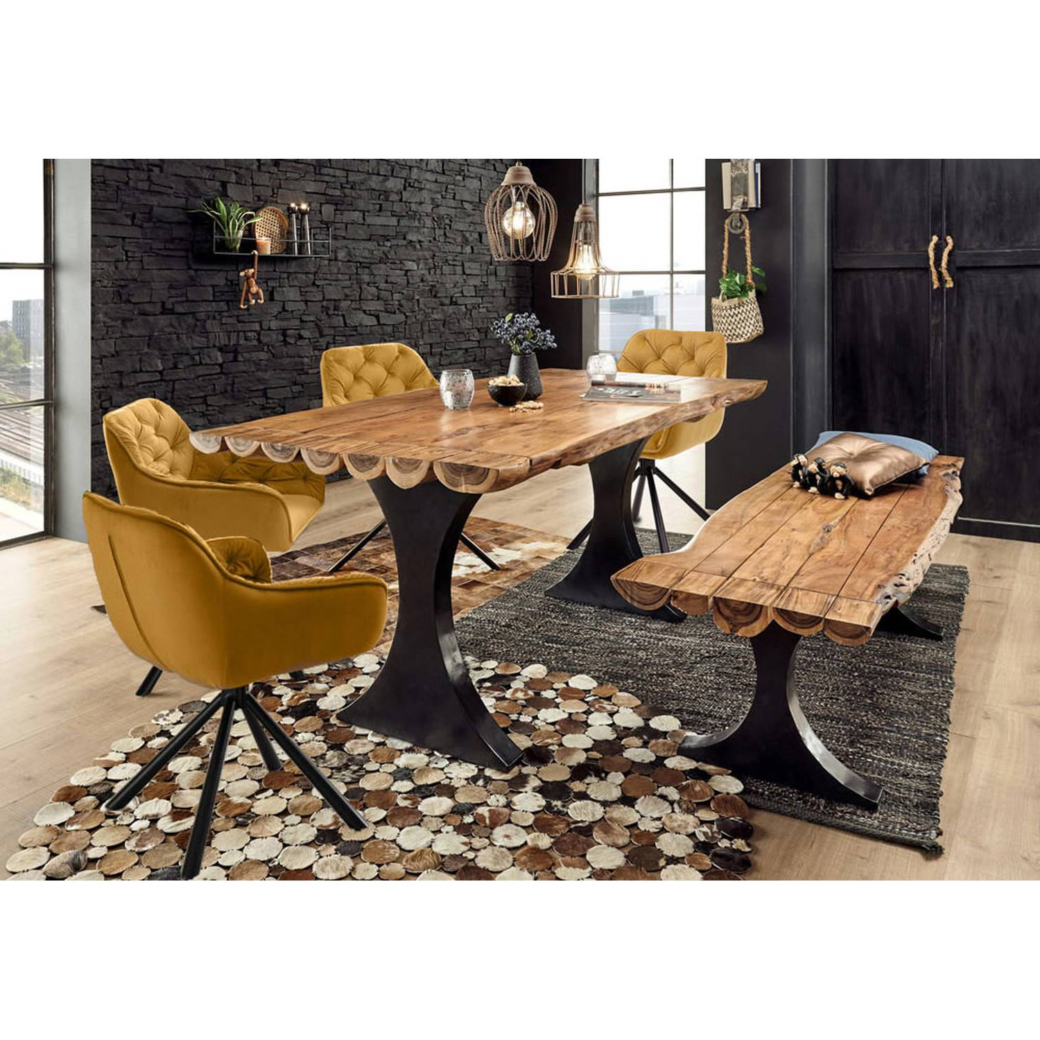 Popel Armchairs Inside Most Recent Solid Wood Dining Set Amsterdam 119 Made Of Halved Logs, Frames Black, Armchairs Mustard Yellow With Chesterfield Quilting (View 16 of 20)