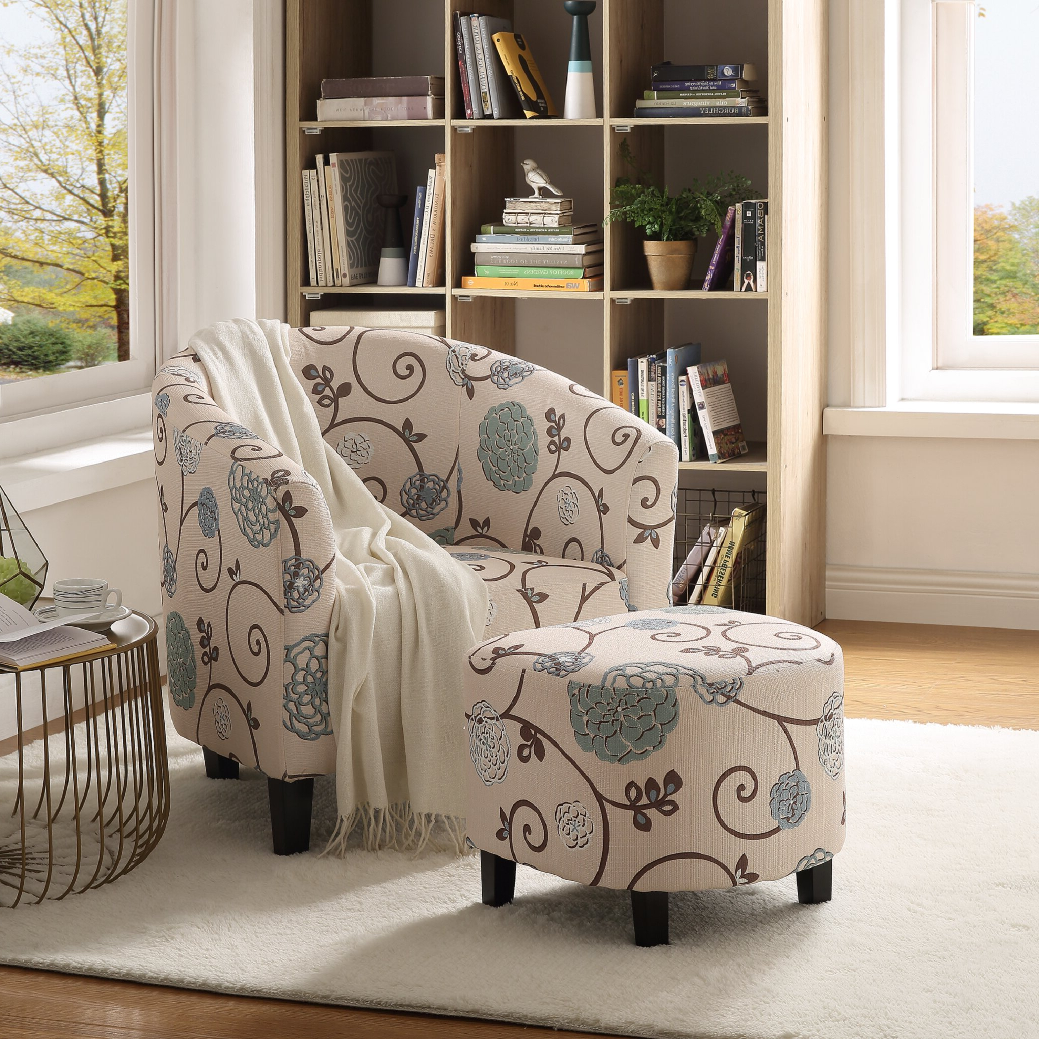 """Popular Alexander Cotton Blend Armchairs And Ottoman Throughout Arthella 30"""" W Barrel Chair And Ottoman (View 12 of 20)"""
