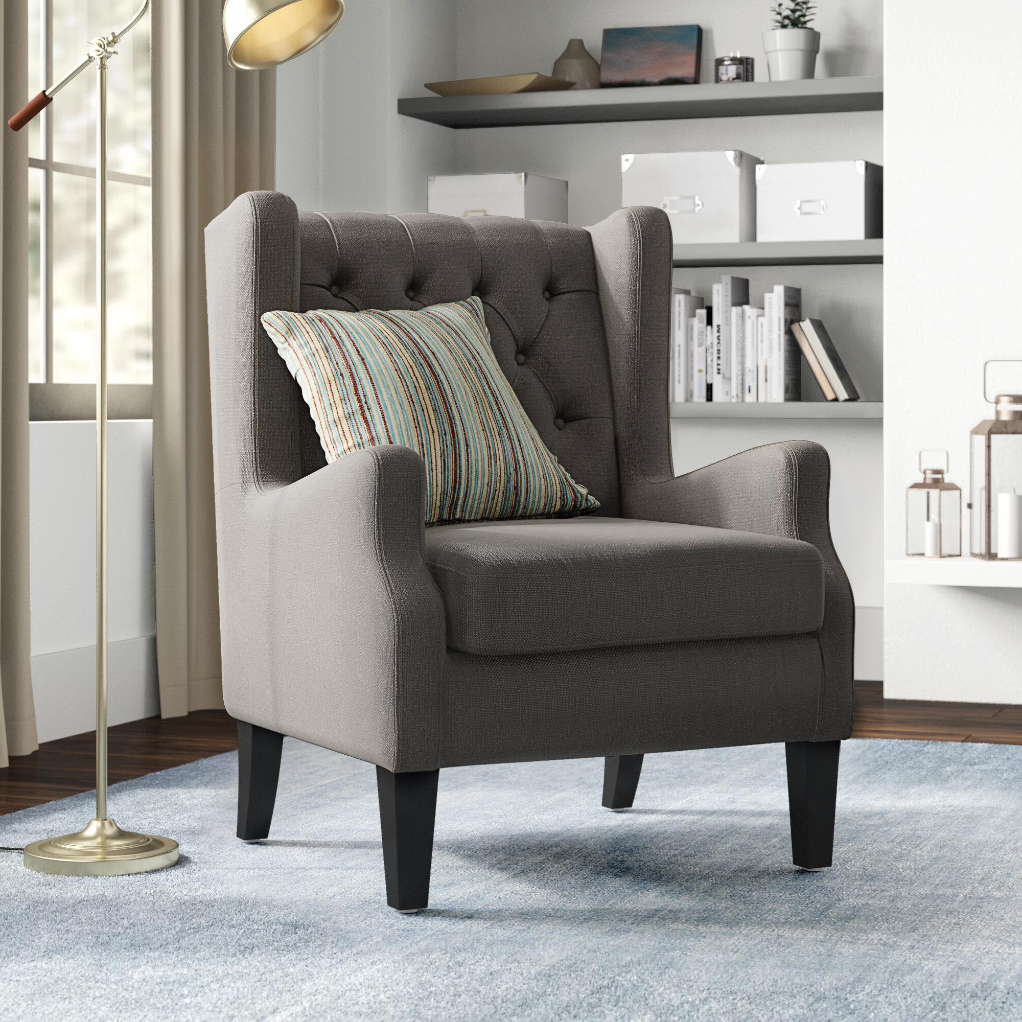 Featured Photo of Allis Tufted Polyester Blend Wingback Chairs