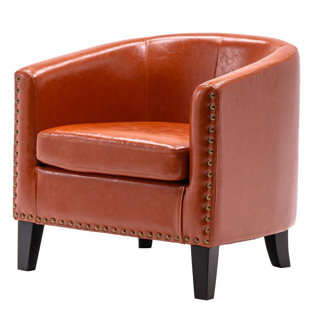 Popular Gilad Faux Leather Barrel Chairs With Regard To Orange Wood Accent Chairs You'll Love In (View 3 of 20)