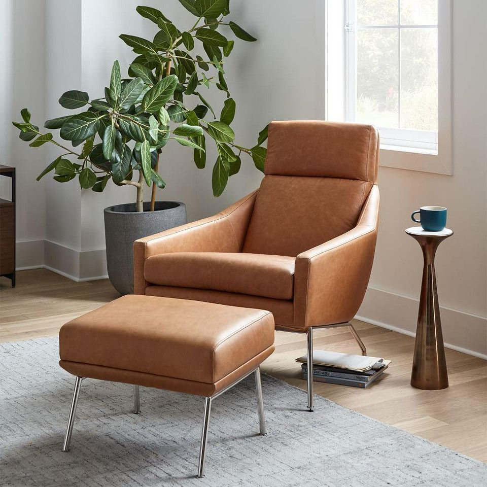 Popular Jazouli Linen Barrel Chairs And Ottoman Throughout Austin Leather Armchair (View 10 of 20)