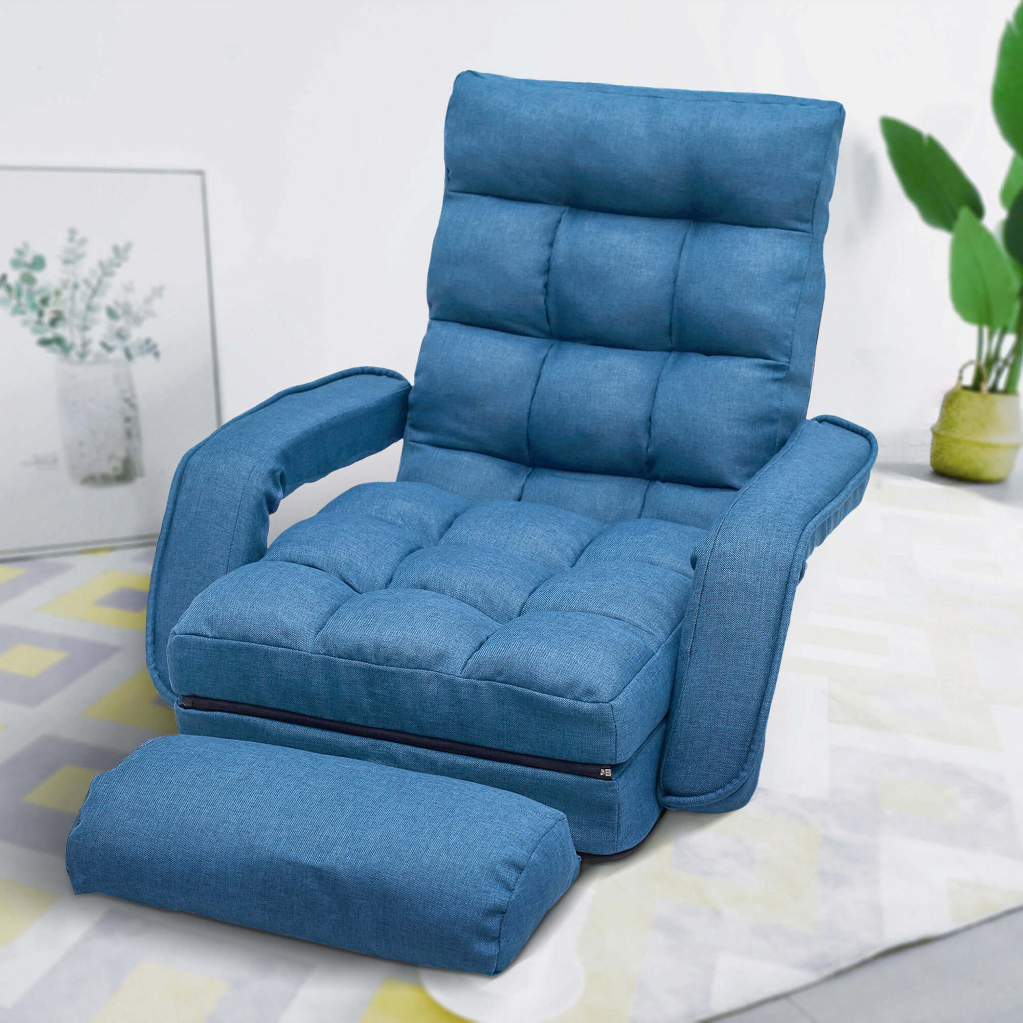 Popular Lazy Floor Convertible Chair With Perz Tufted Faux Leather Convertible Chairs (View 14 of 20)
