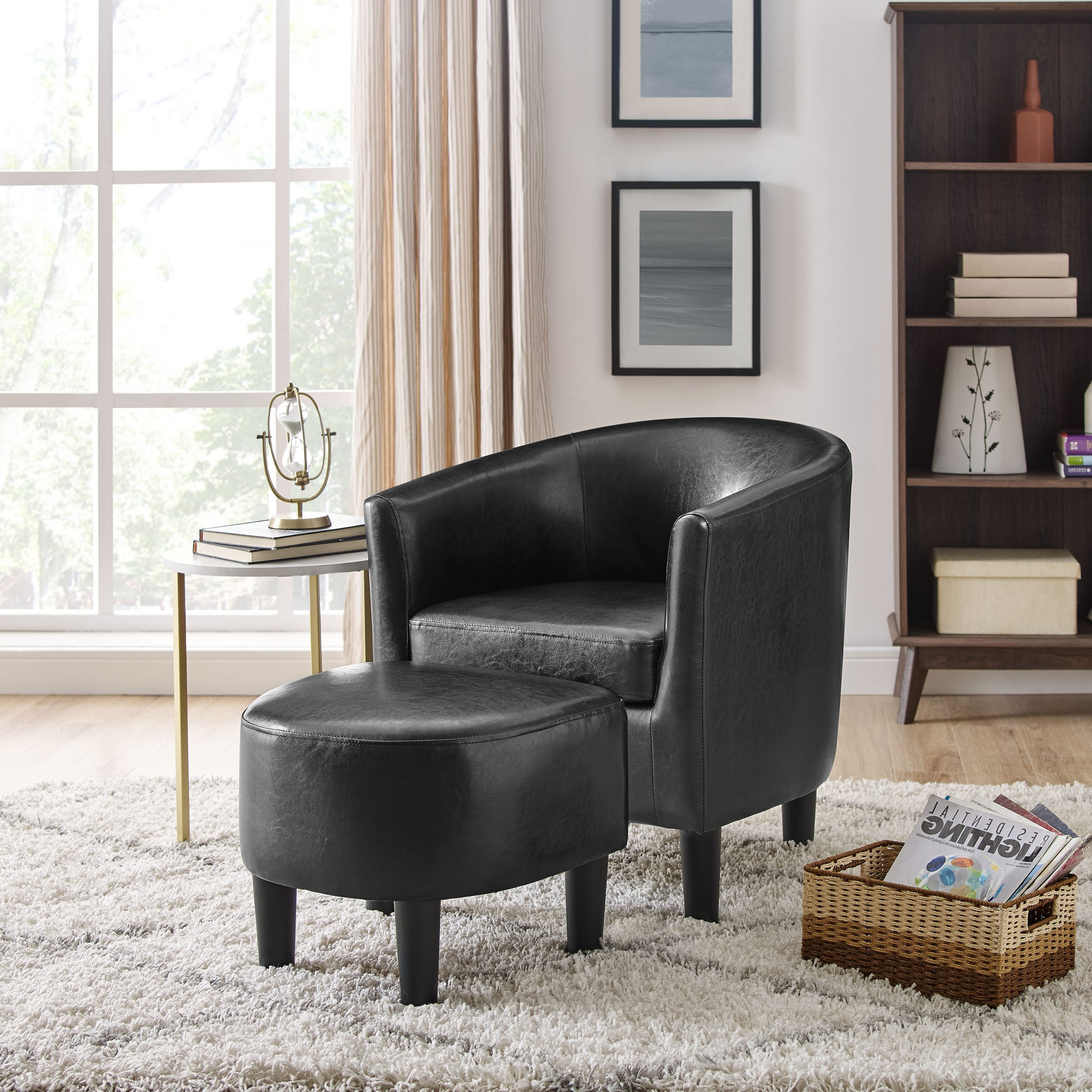 Popular Lucea Faux Leather Barrel Chairs And Ottoman Pertaining To Barrel Black Accent Chairs You'll Love In (View 3 of 20)