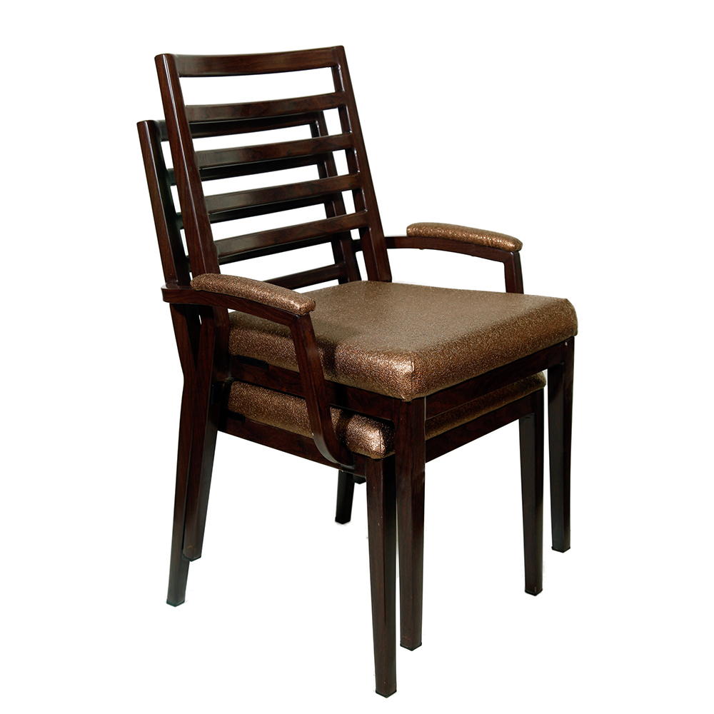 Popular Raeli Aluminum Wood Look Stack Arm Chair With Nadene Armchairs (View 16 of 20)