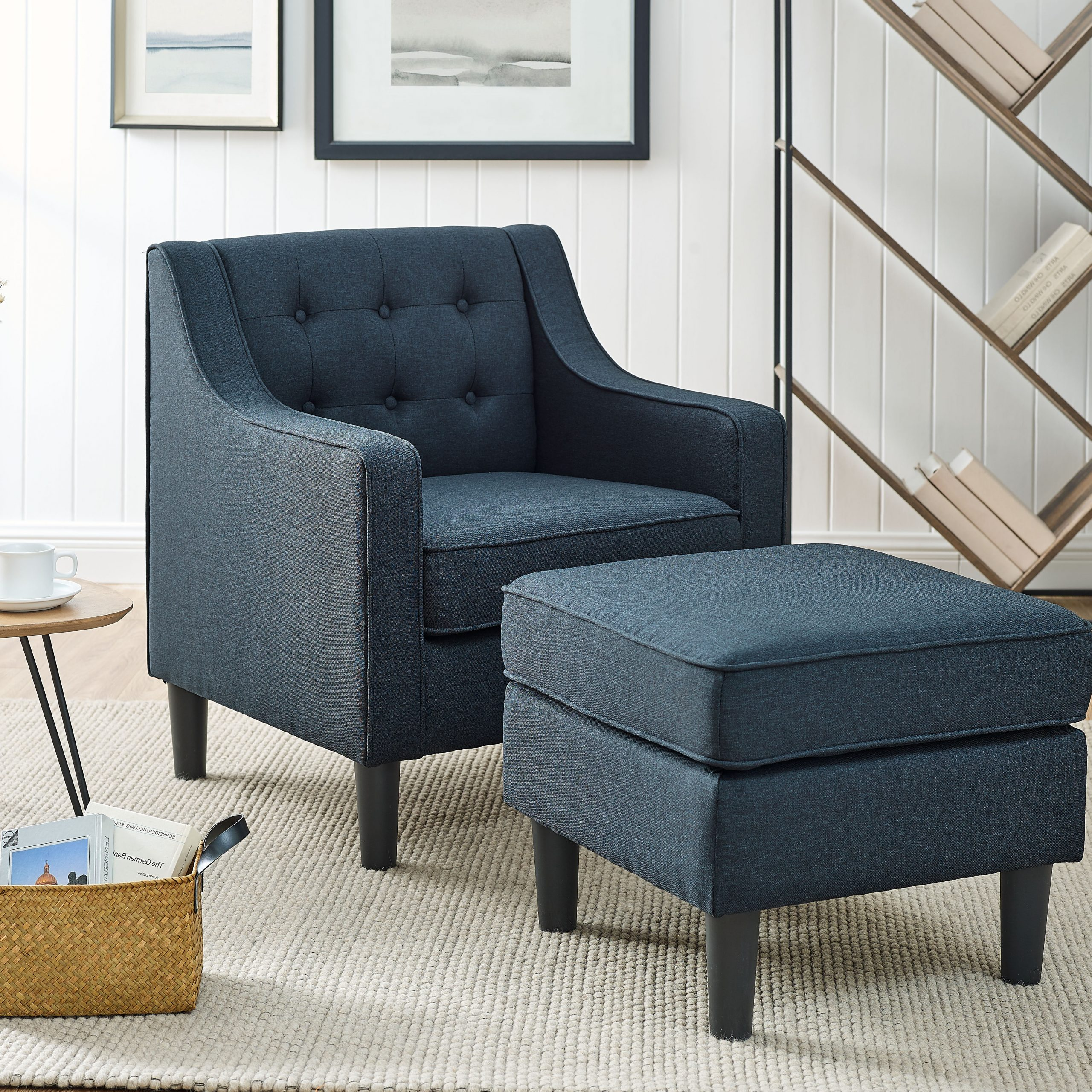 Preferred Hallsville Performance Velvet Armchairs And Ottoman In Navy Ottoman Included Accent Chairs You'll Love In  (View 4 of 20)