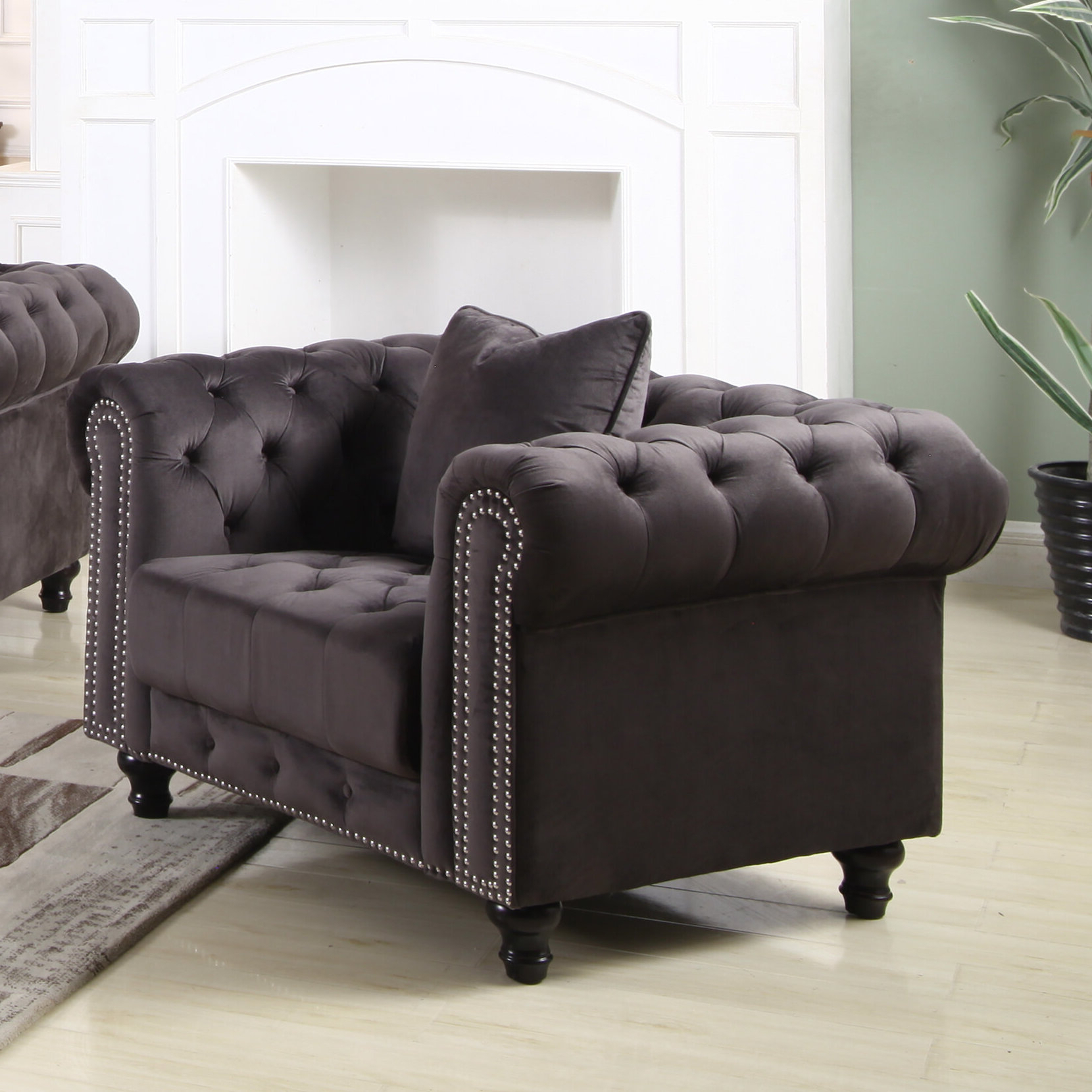 Preferred Kjellfrid Chesterfield Chairs Inside Chesterfield Espresso Wood Accent Chairs You'll Love In (View 15 of 20)