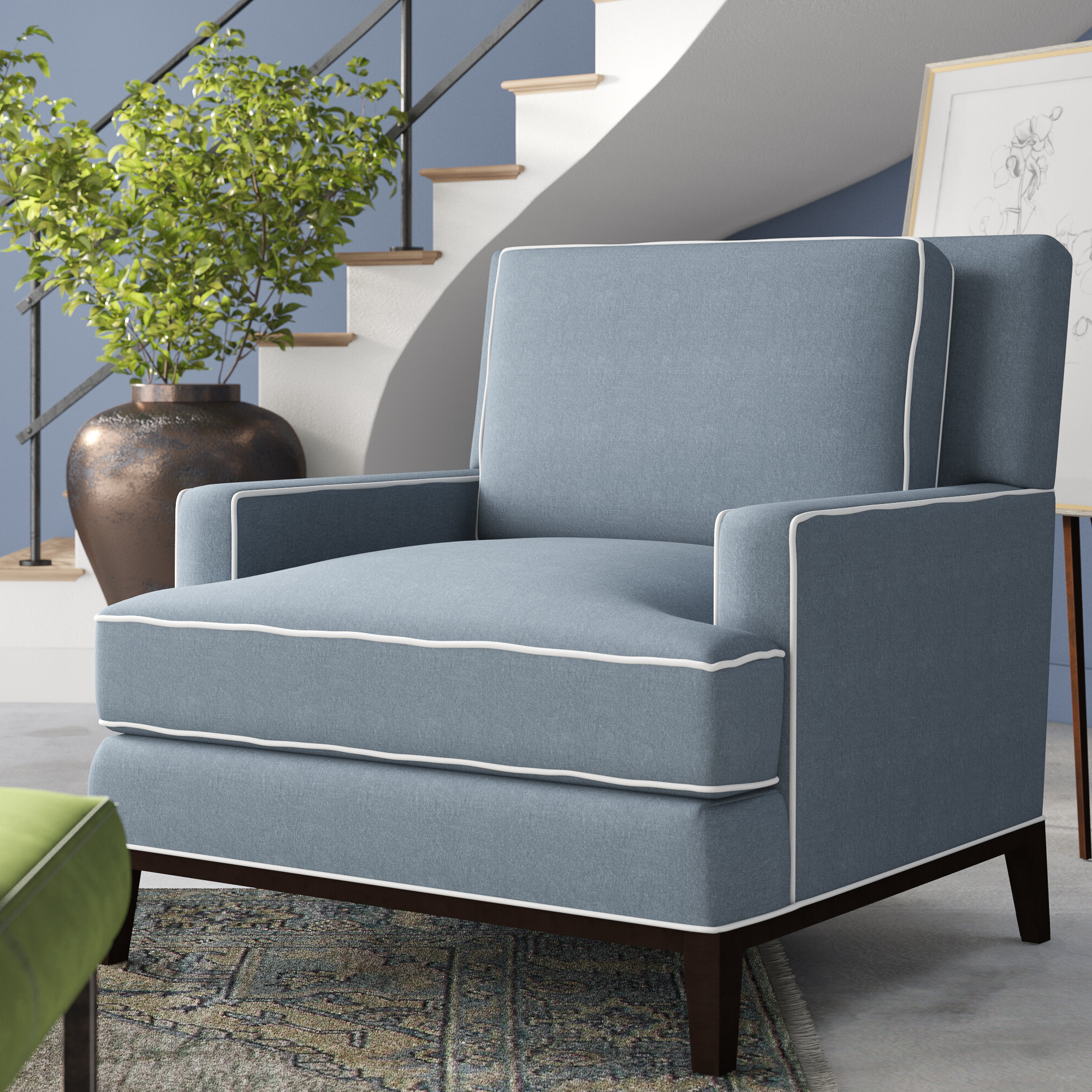 """Preferred Ronald Polyester Blend Armchairs With Andrews 39"""" W Polyester Blend Down Cushion Armchair (View 5 of 20)"""