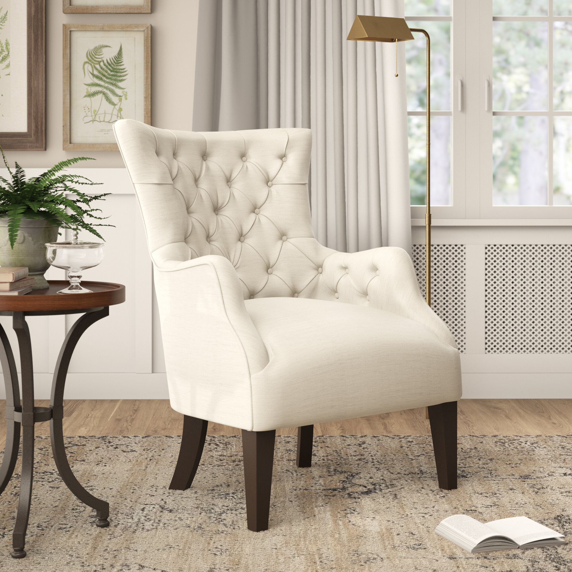 Preferred Steelton Button Wingback Chair In Munson Linen Barrel Chairs (View 12 of 20)