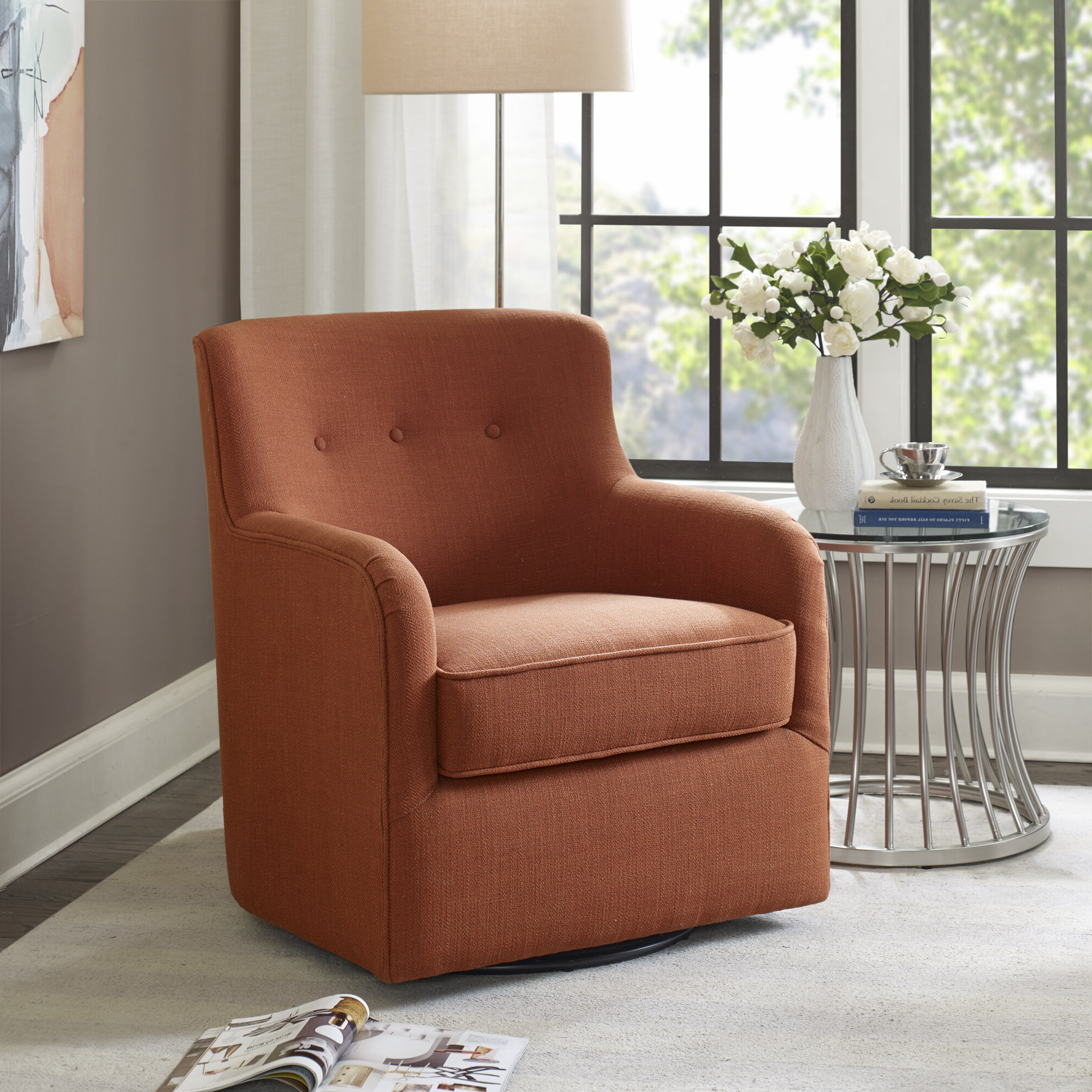 """Quinten Swivel 22"""" Armchair With Regard To Well Known Loftus Swivel Armchairs (View 5 of 20)"""