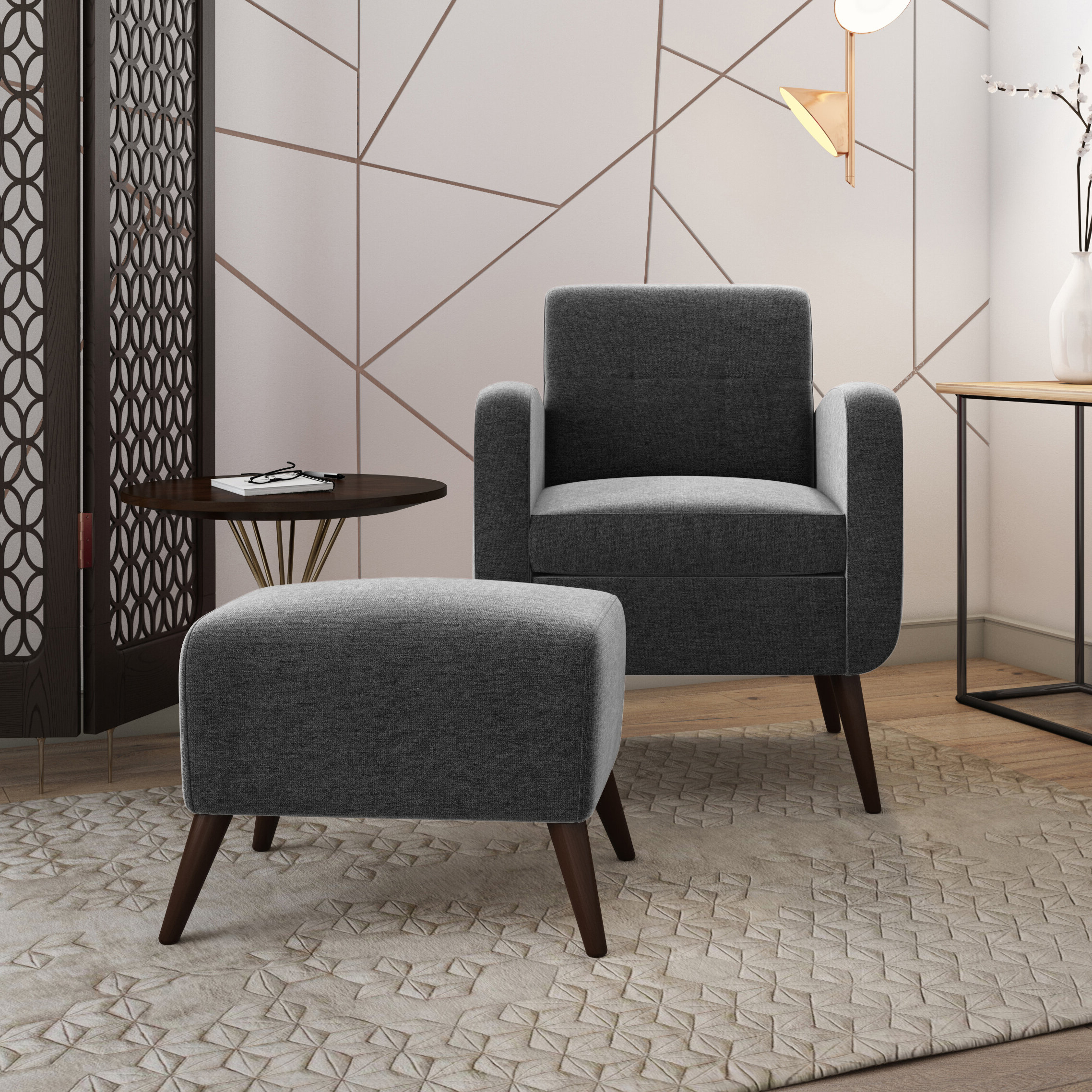 """Recent Alexander Cotton Blend Armchairs And Ottoman Intended For Dario 22"""" W Polyester Slipper Chair And Ottoman (View 11 of 20)"""