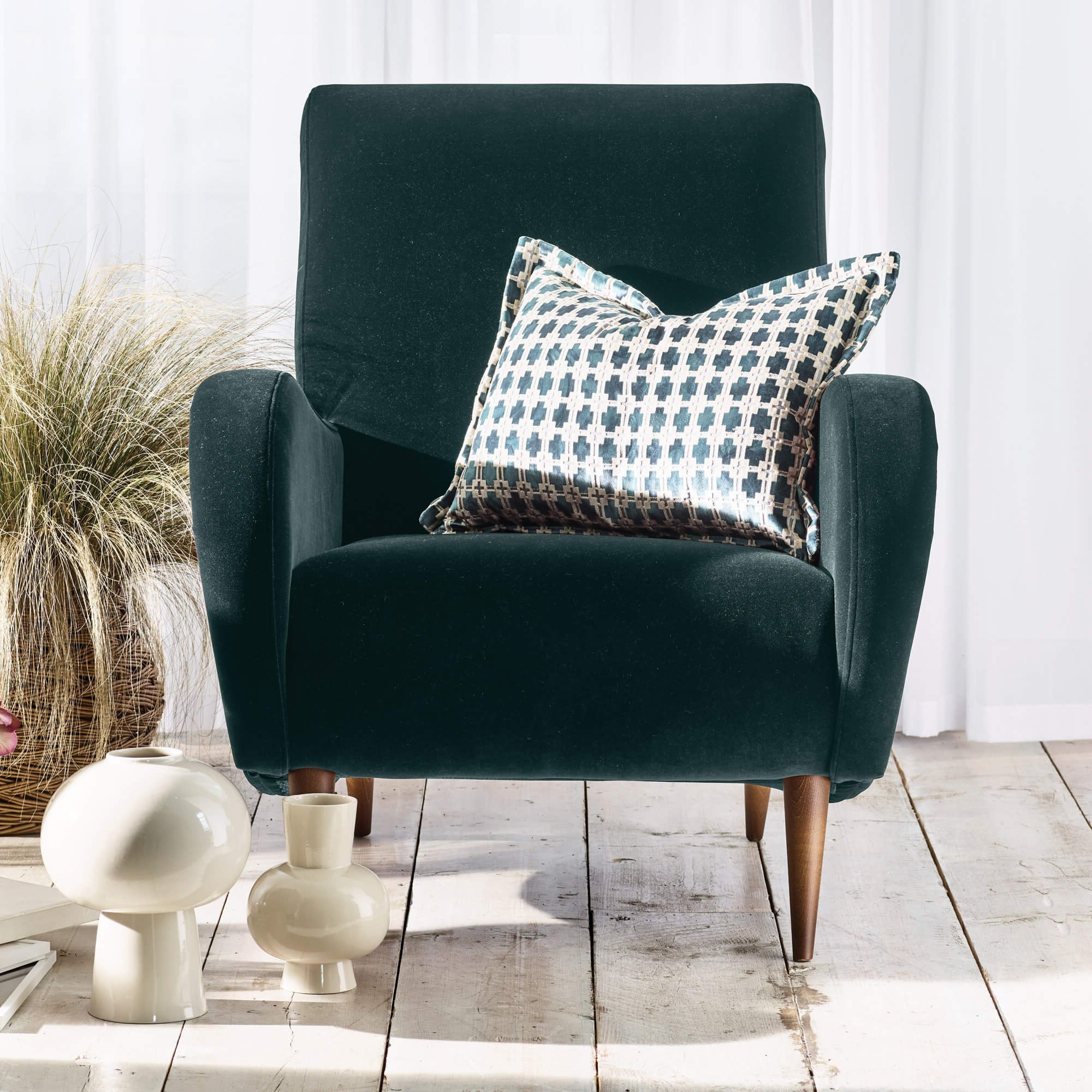 Recent Alexander & James Lonnie Teal Velvet Armchair Intended For James Armchairs (View 13 of 20)
