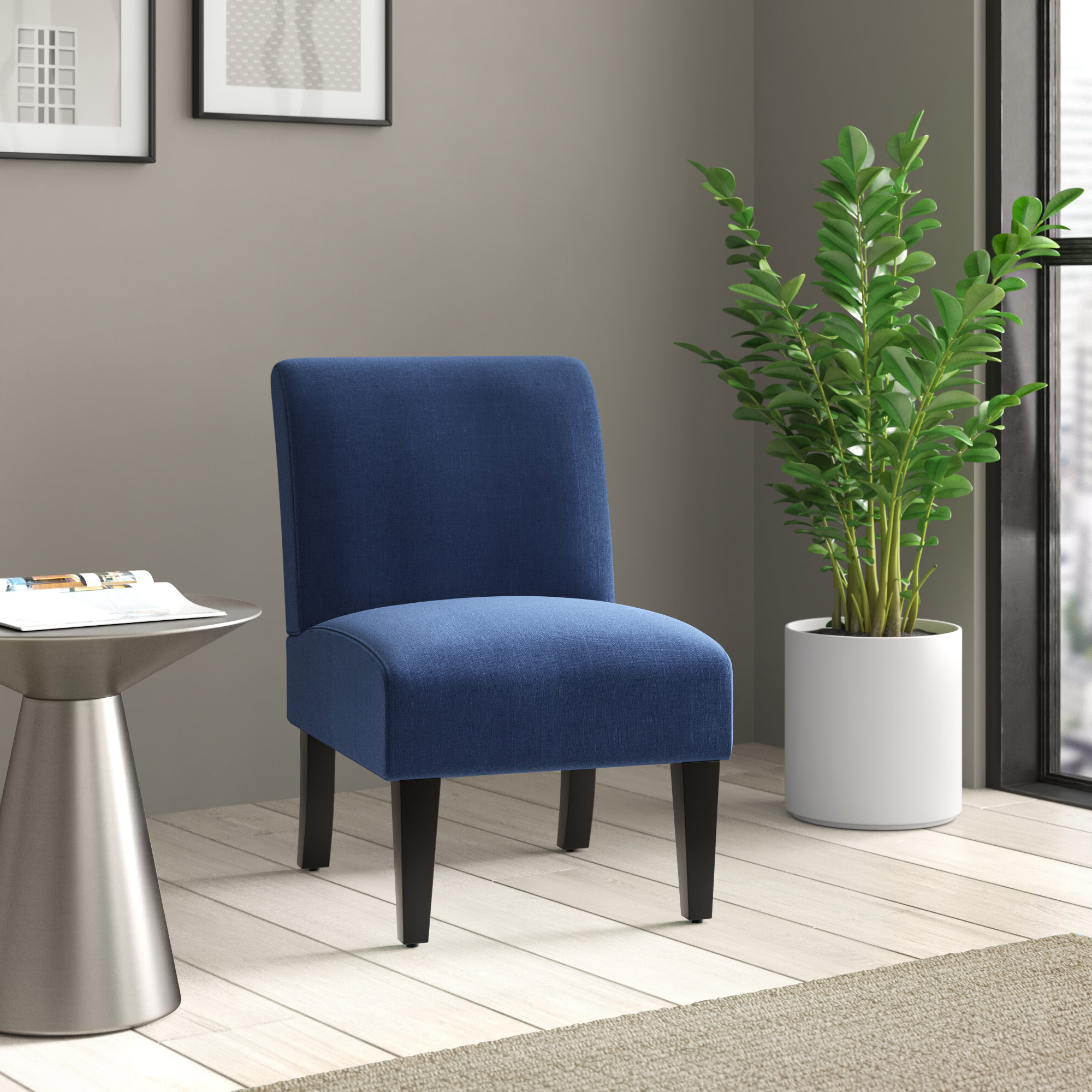 Recent Belleze Armless Contemporary Upholstered Single Curved Slipper Accent Chair Living Room Bedroom – Walmart Within Goodyear Slipper Chairs (View 8 of 20)