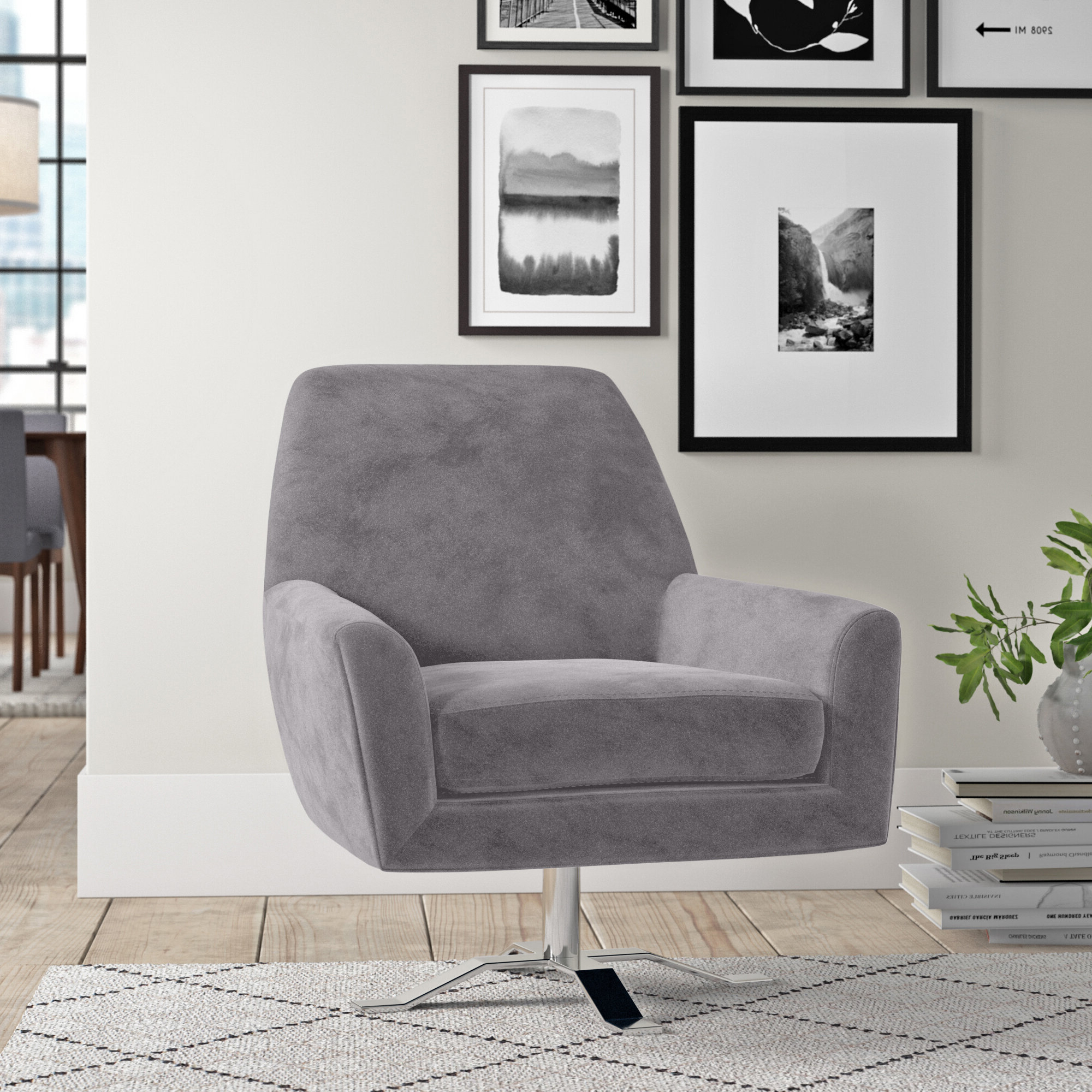 Recent Brookhhurst Avina Armchairs Regarding Brass & Chrome Accent Chairs You'll Love In (View 6 of 20)