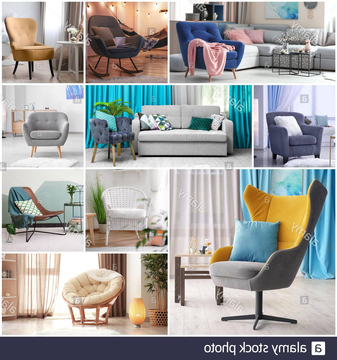 Recent Collage With Stylish And Comfortable Armchairs In Different Inside Live It Cozy Armchairs (View 17 of 20)