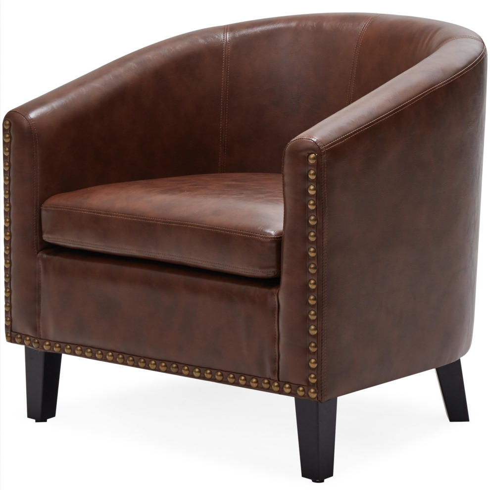 Recent Faux Leather Barrel Chairs With Regard To Tub Barrel Accent Chair Faux Leather, Brown (View 6 of 20)