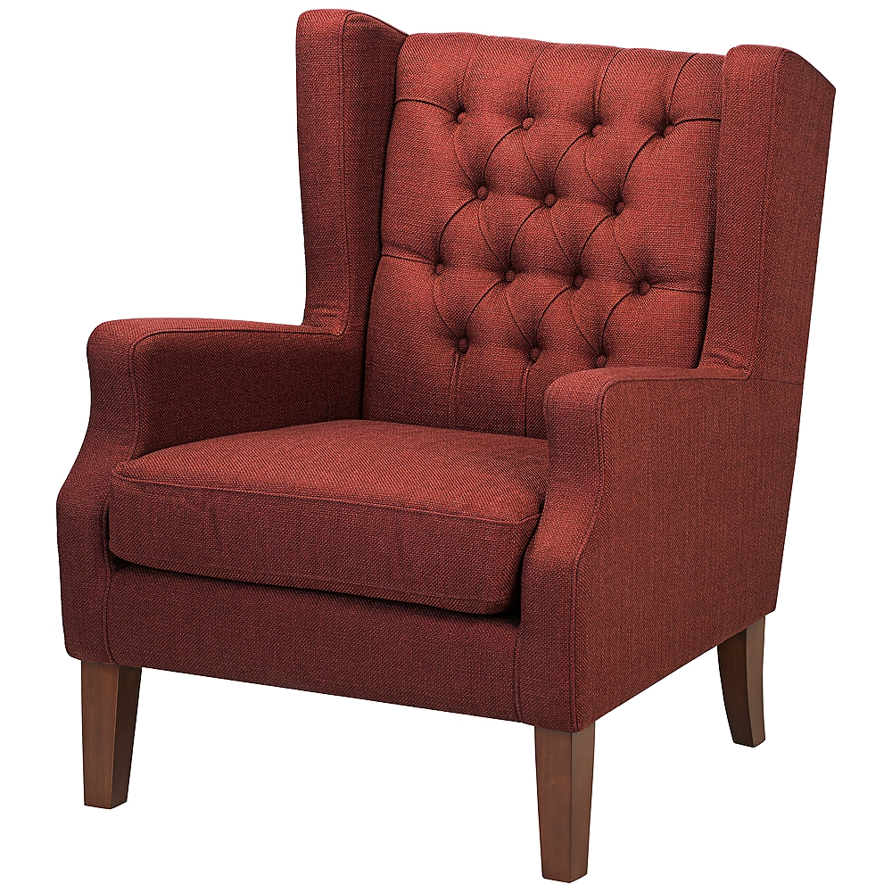 Recent Galesville Tufted Polyester Wingback Chairs With Maxwell Lillian Tufted Russet Red Armchair – Style # 7d (View 11 of 20)