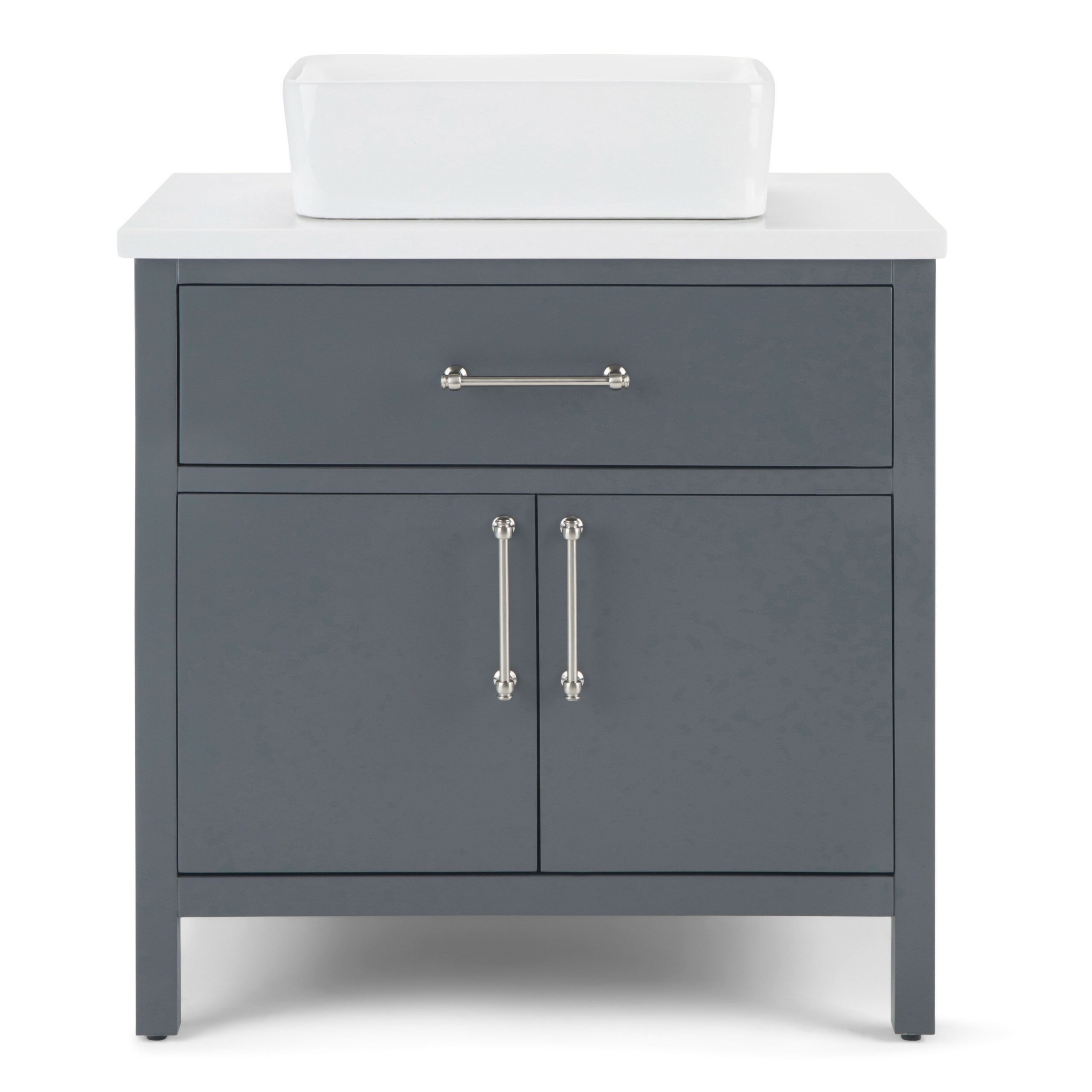 """Recent Meltham 31"""" Single Bathroom Vanity Set With Onderdonk Faux Leather Convertible Chairs (View 9 of 20)"""