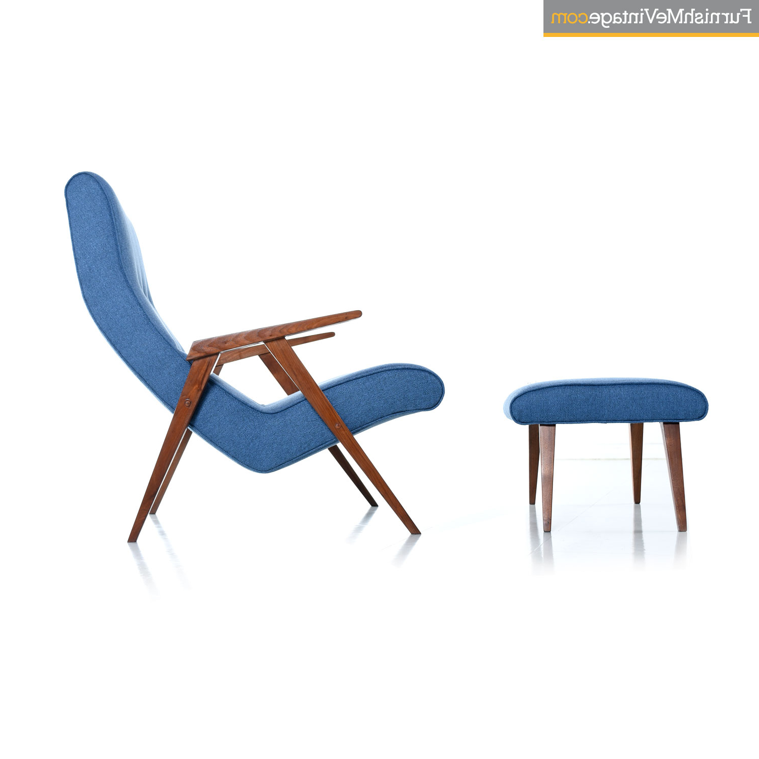 Restored Jens Risom Style Compass Leg Scoop Lounge Armchair And Ottoman Within Widely Used Modern Armchairs And Ottoman (View 4 of 20)