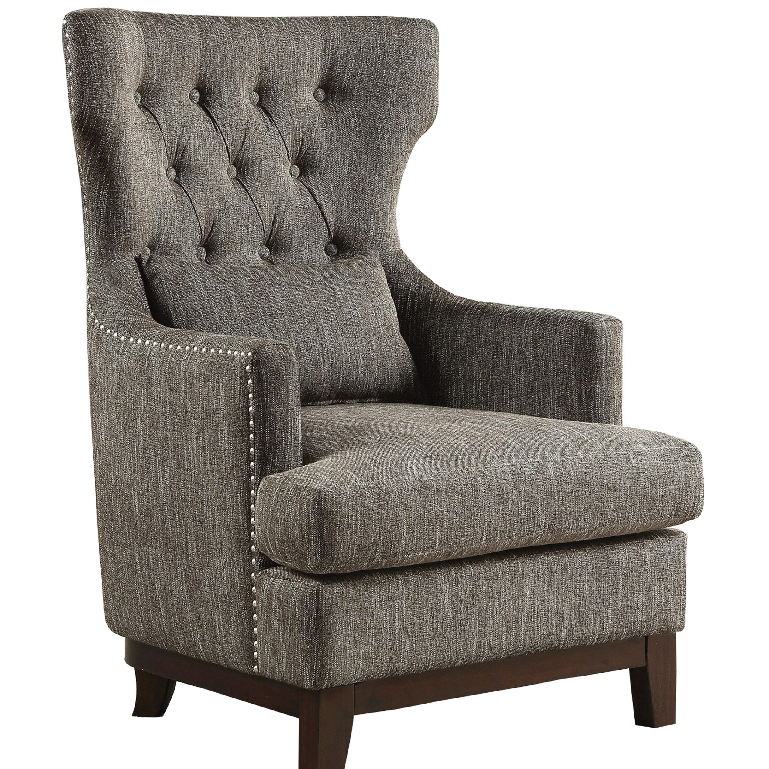 Ridgemark Fabric Upholstered Wingback Chair Regarding Most Recent Galesville Tufted Polyester Wingback Chairs (View 6 of 20)