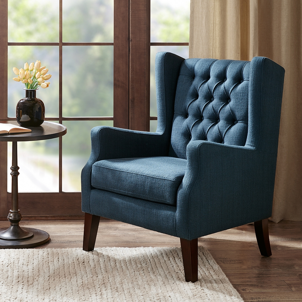 Roan Navy Wingback Button Tufted Accent Chair – Style # 82w87 – Lamps Plus Inside Best And Newest Lenaghan Wingback Chairs (View 7 of 20)
