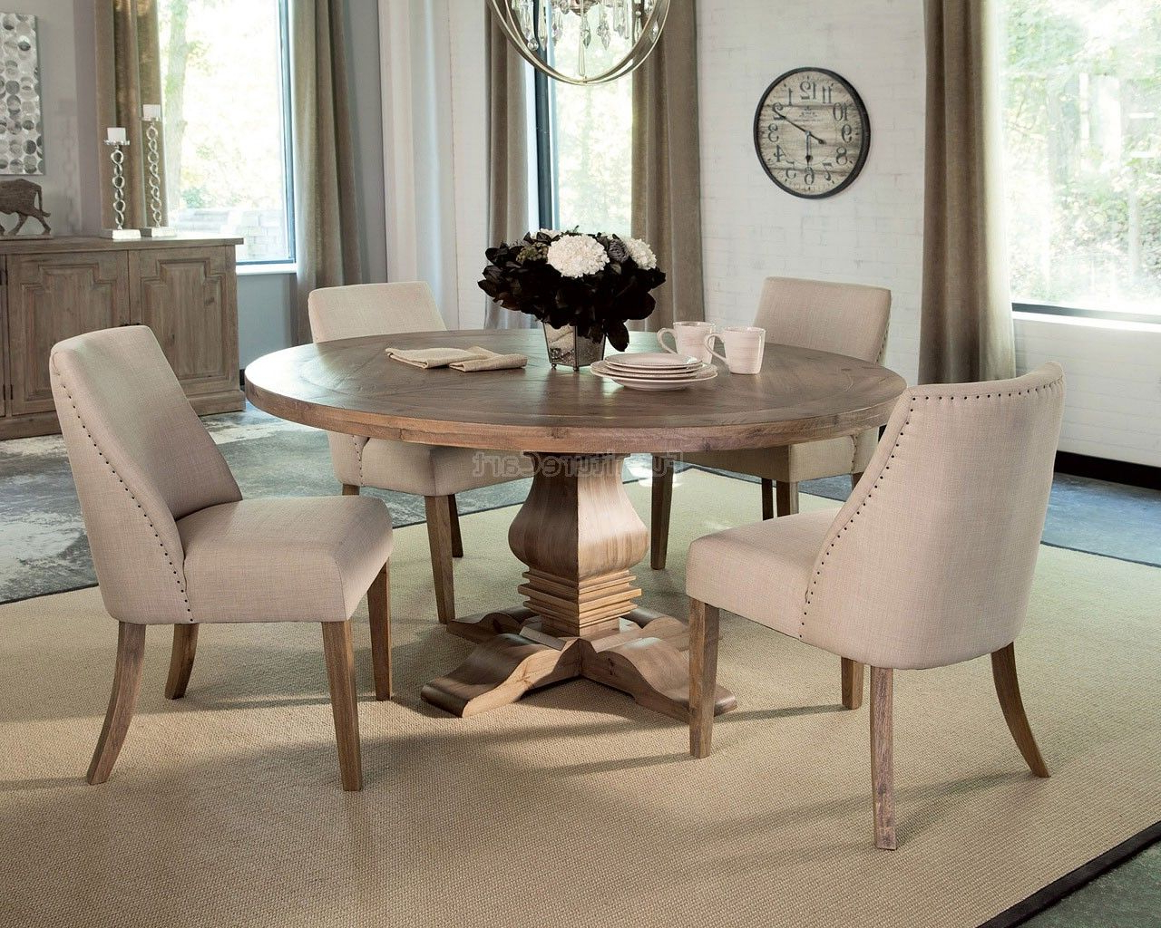 Round Dining With Regard To Trendy Aime Upholstered Parsons Chairs In Beige (View 16 of 20)