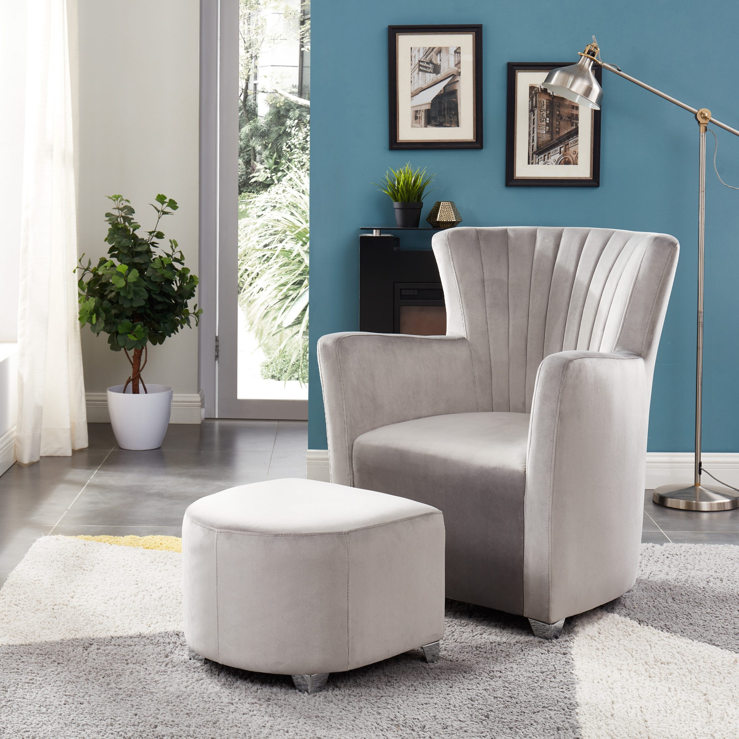 Ryanne Club Chair And Ottoman In Recent Hallsville Performance Velvet Armchairs And Ottoman (View 11 of 20)