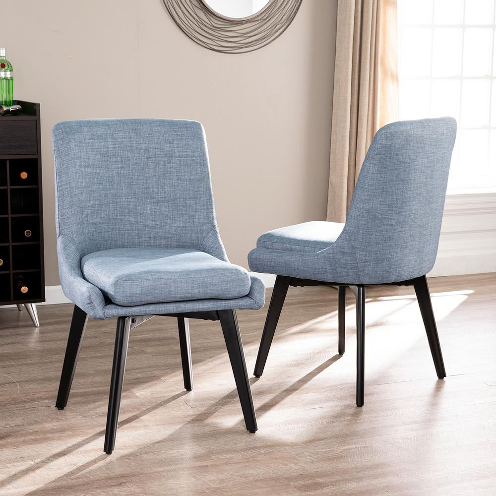 Selby Armchairs With Current Southern Enterprises Selby Denim Blue Gray And Black Swivel Accent Chairs (set Of 2) Hd531472 – The Home Depot (View 15 of 20)