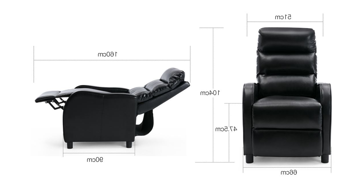 Selby Leather Push Back Recliner Chair In Black Pertaining To Most Recent Selby Armchairs (View 9 of 20)