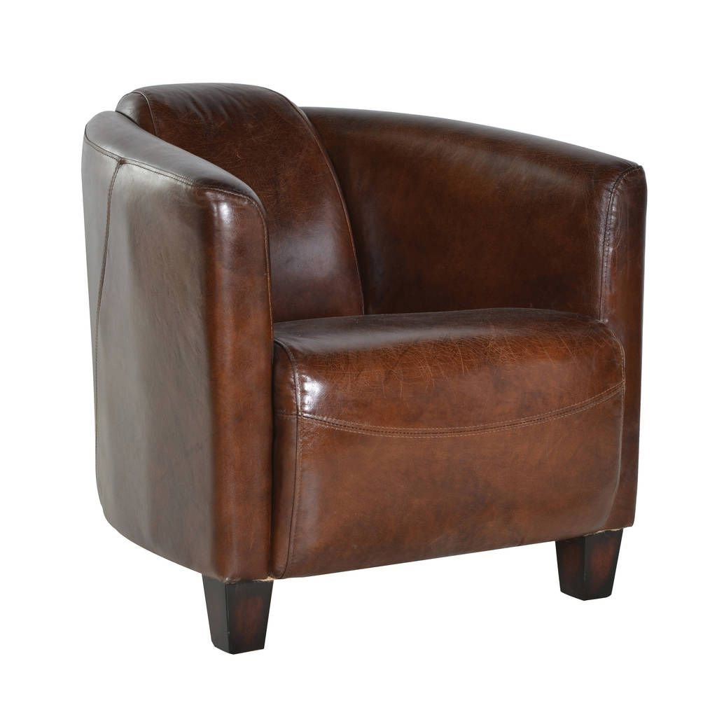 Sheldon Tufted Top Grain Leather Club Chairs In Trendy Marlborough Leather Armchair (View 17 of 20)