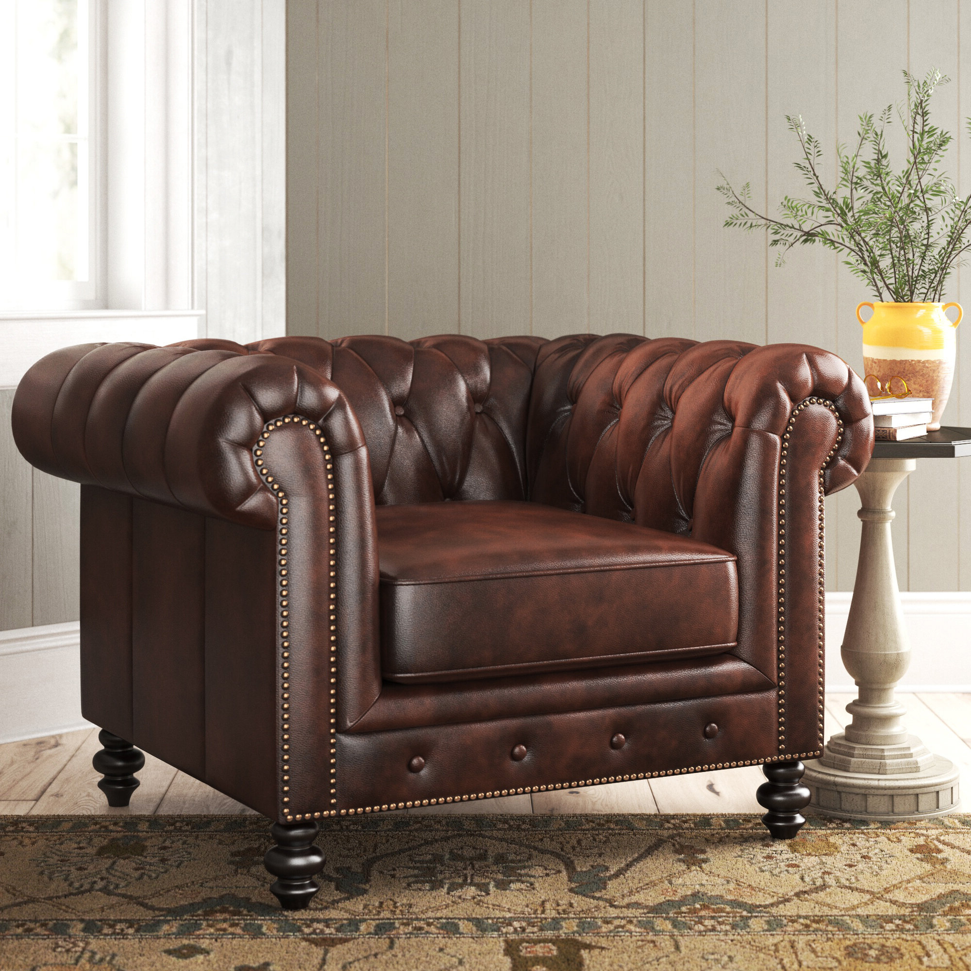 """Sheldon Tufted Top Grain Leather Club Chairs Regarding Most Current Eufaula 44"""" W Tufted Top Grain Leather Chesterfield Chair (View 3 of 20)"""