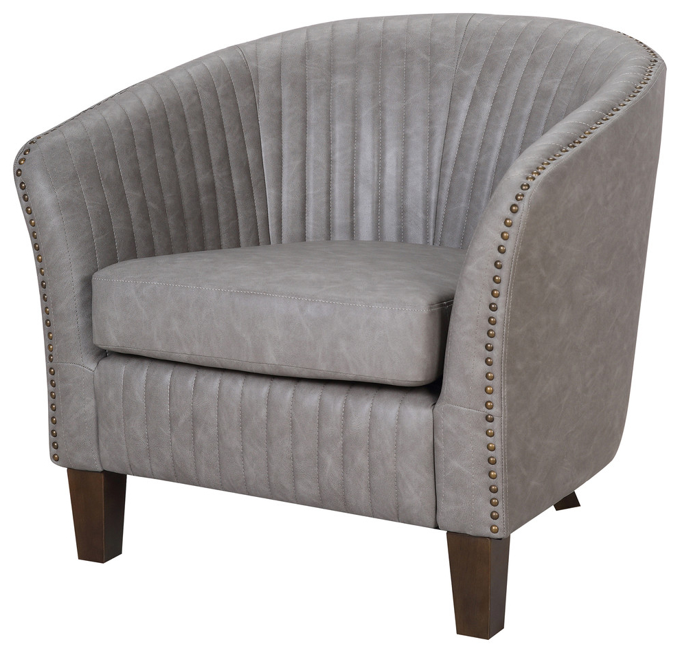 Shelton Contemporary Club Chair In Faux Leather Upholstery, Light Gray Within Recent Sheldon Tufted Top Grain Leather Club Chairs (View 15 of 20)