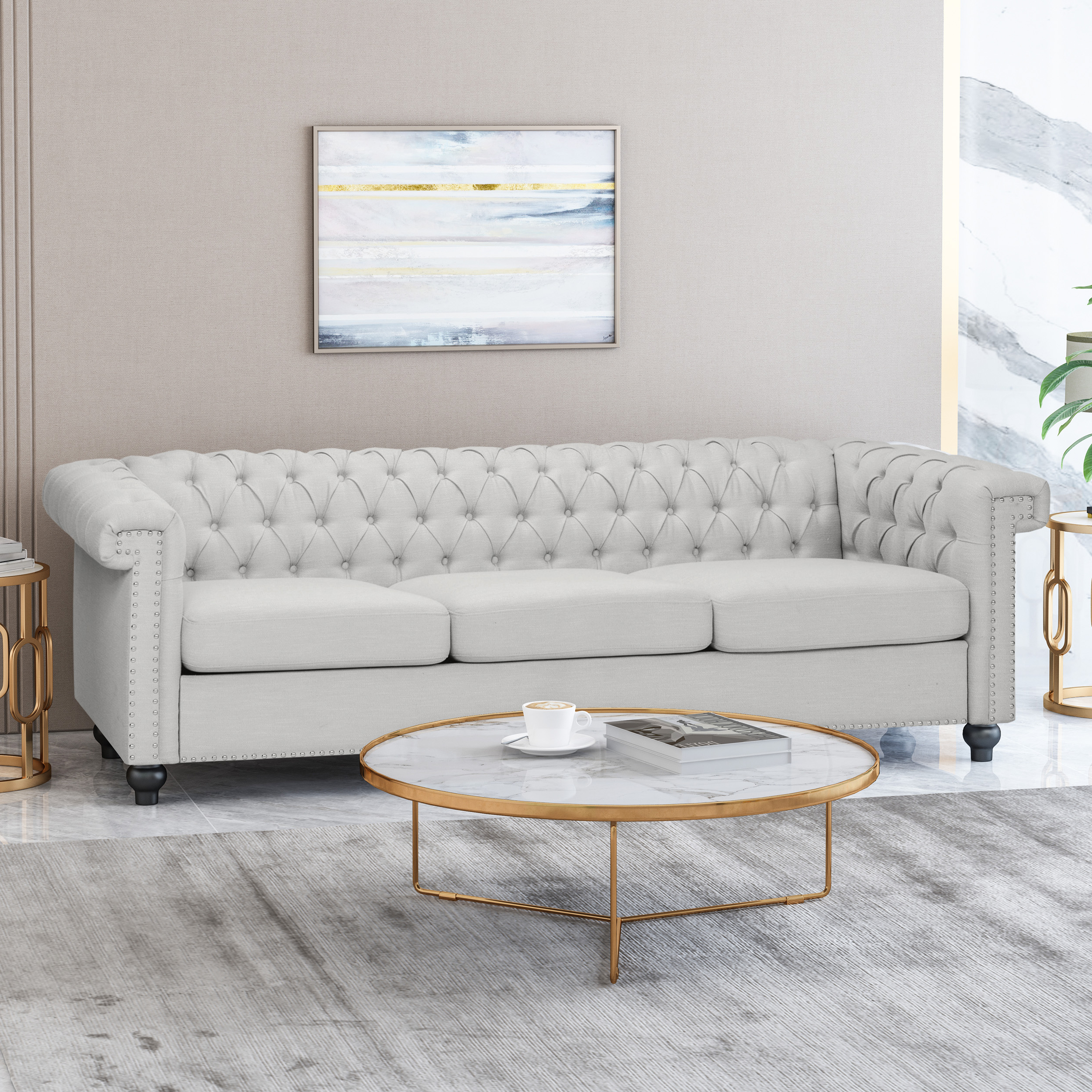 Starks Tufted Fabric Chesterfield Chair And Ottoman Sets With Most Recent Noble House Conrado Tufted Chesterfield Fabric 3 Seater Sofa, Pebble Gray  And Dark Brown (View 15 of 20)