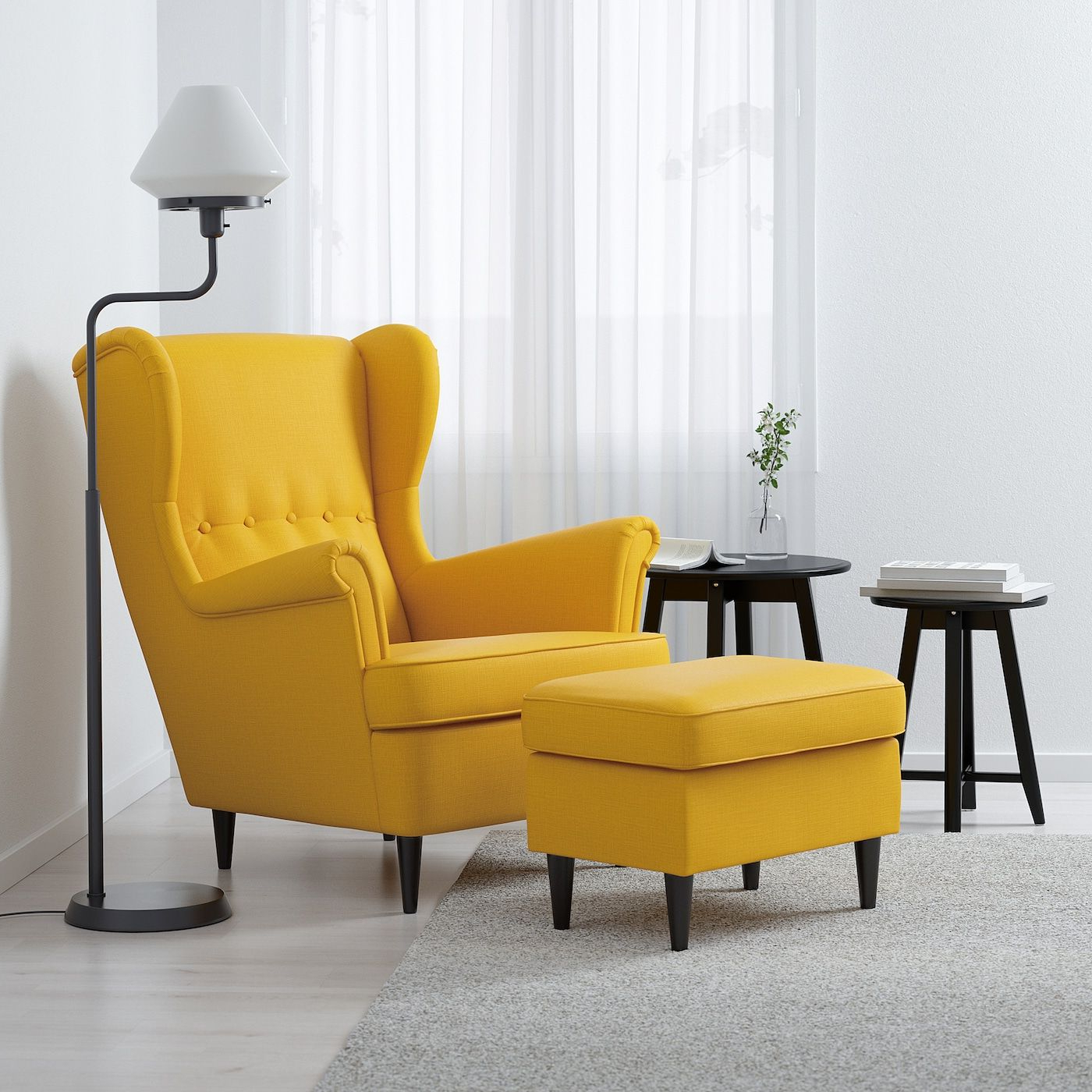 Strandmon Sillón Orejero, Skiftebo Amarillo – Ikea With Best And Newest Chaithra Barrel Chair And Ottoman Sets (View 6 of 20)