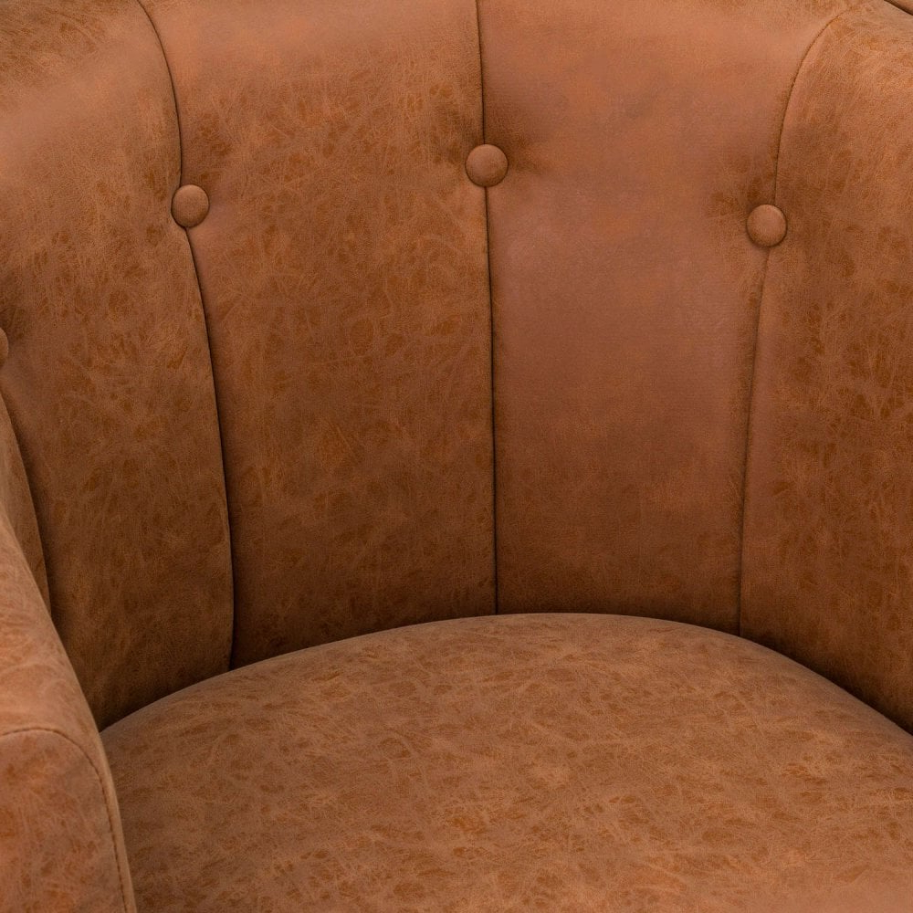 Tan Faux Leather Urban Tub Chair For Most Current Faux Leather Barrel Chairs (View 19 of 20)