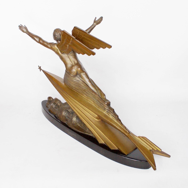 """the Aviator"" Art Deco Bronze Sculpturefrederic Focht, Circa 1925 Regarding Trendy Focht Armchairs (View 16 of 20)"
