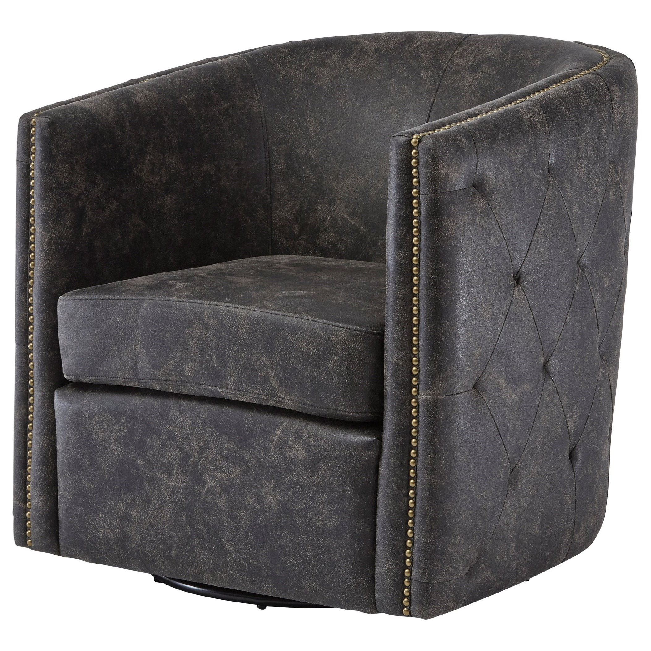 Trendy Brentlow Swivel Chair Throughout Faux Leather Barrel Chairs (View 16 of 20)